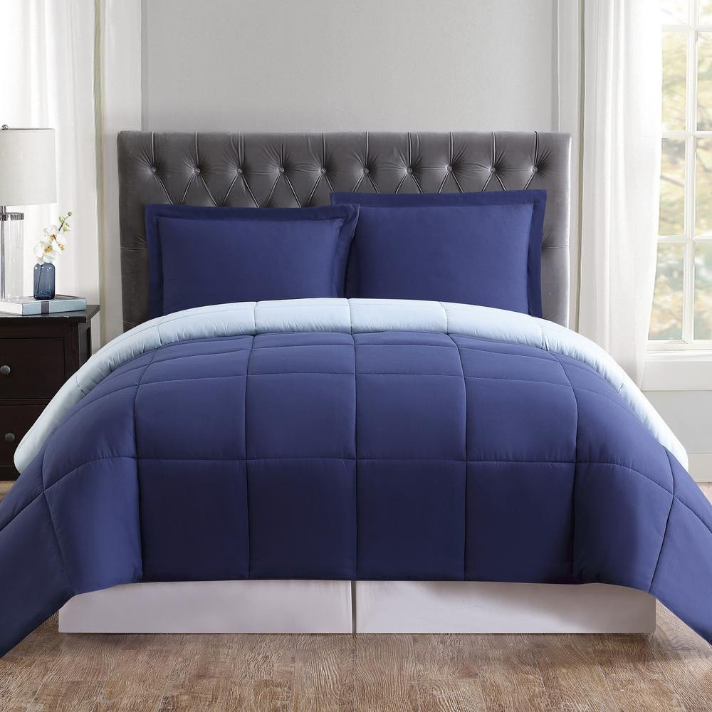 King Bedroom Comforter Set Unique Truly soft Everyday 3 Piece Navy and Light Blue Queen