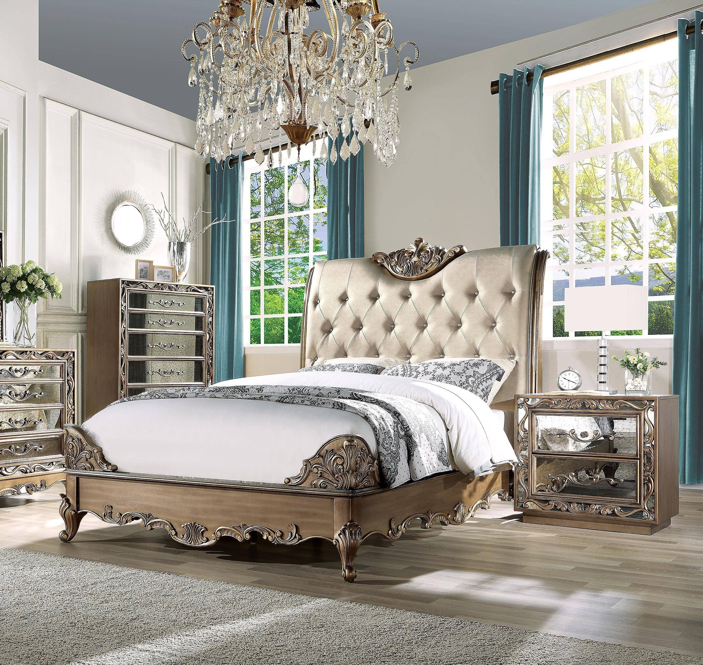 King Bedroom Furniture Set Unique Luxury King Bedroom Set 3 Antique Gold Champagne F Leather