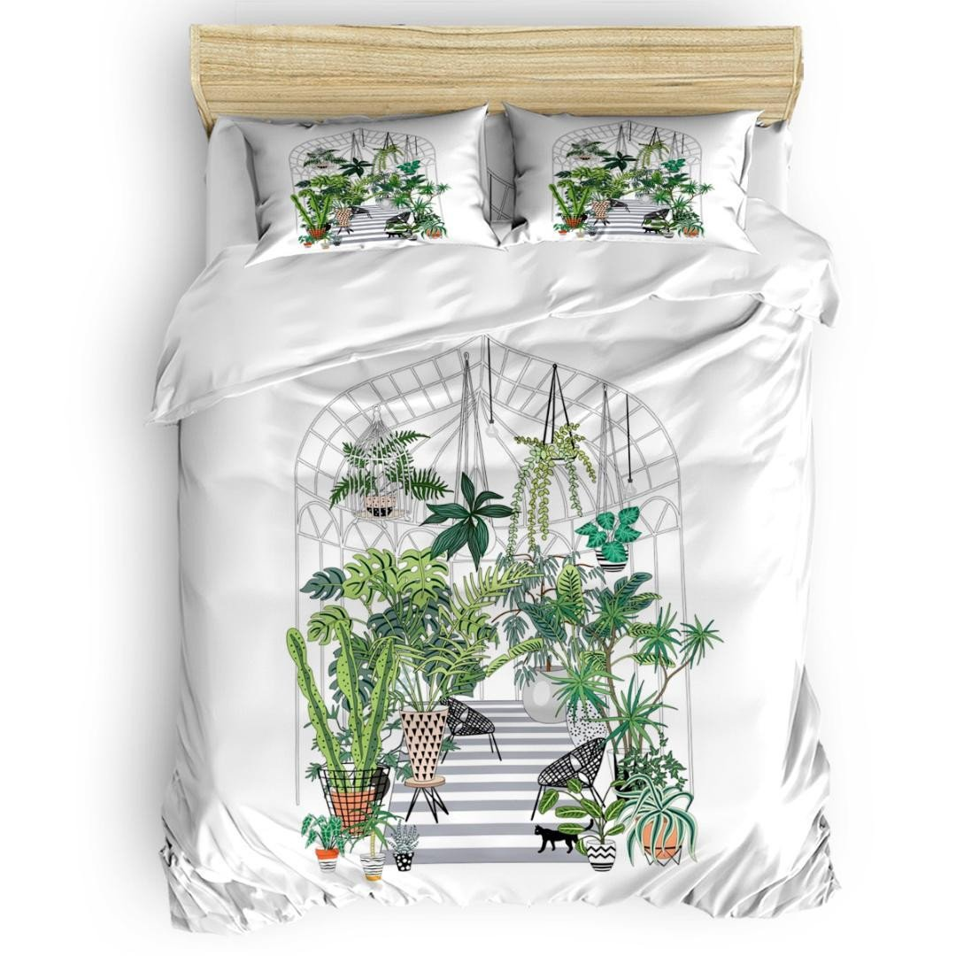 King Bedroom Set Cheap Elegant Greenhouse Illustration Duvet Cover Set Bed Sheets forter Cover Pillowcases Twin Full Queen King Size 4pcs Bedding Sets