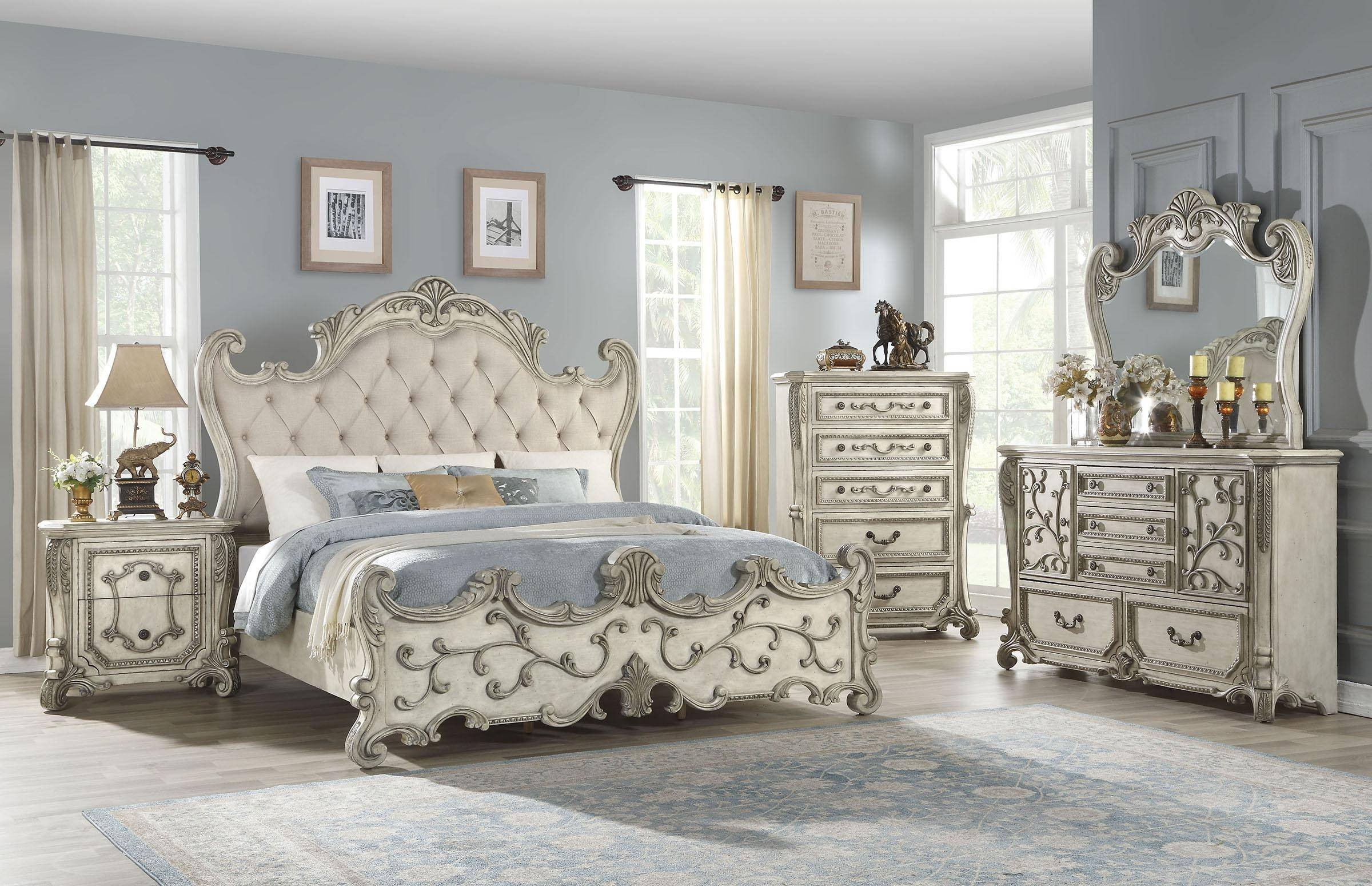 King Bedroom Set for Sale Lovely Luxury King Bedroom Set 5p W Chest Antique White Fabric