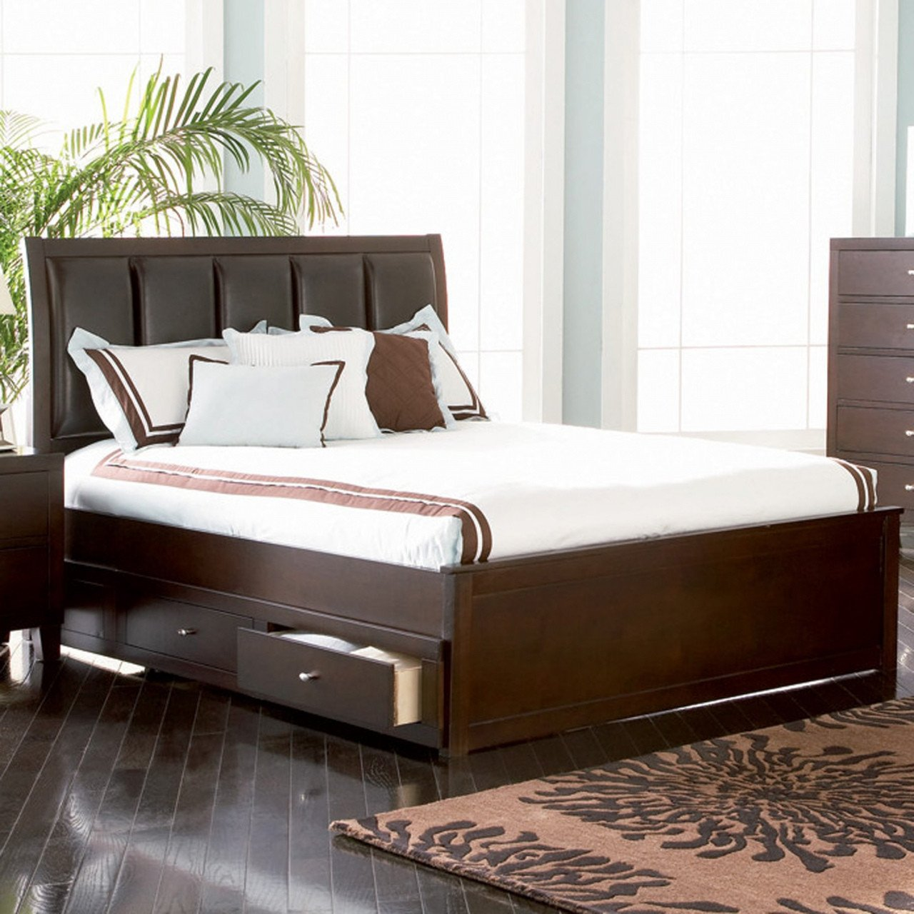 King Size Bedroom Benches Beautiful Full Size Bed with Storage Drawers Underneath — Procura Home