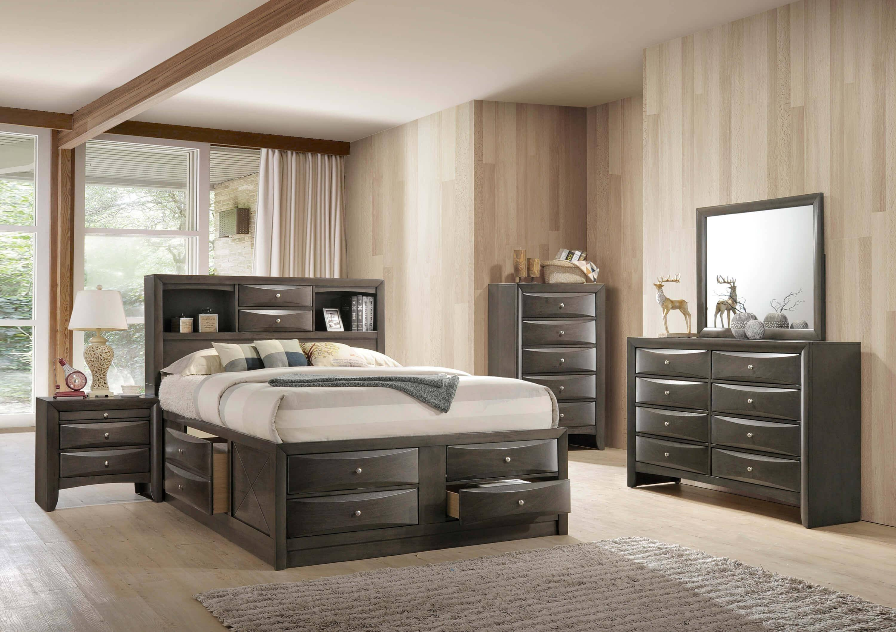 King Size Bedroom Benches Fresh Crown Mark B4275 Emily Modern Grey Finish Storage King Size