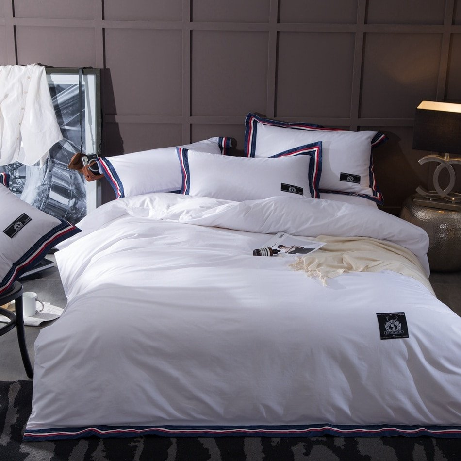 King Size Bedroom Comforter Set Beautiful Pure White Duvet Cover Set Queen King Size soft Quilt Cover