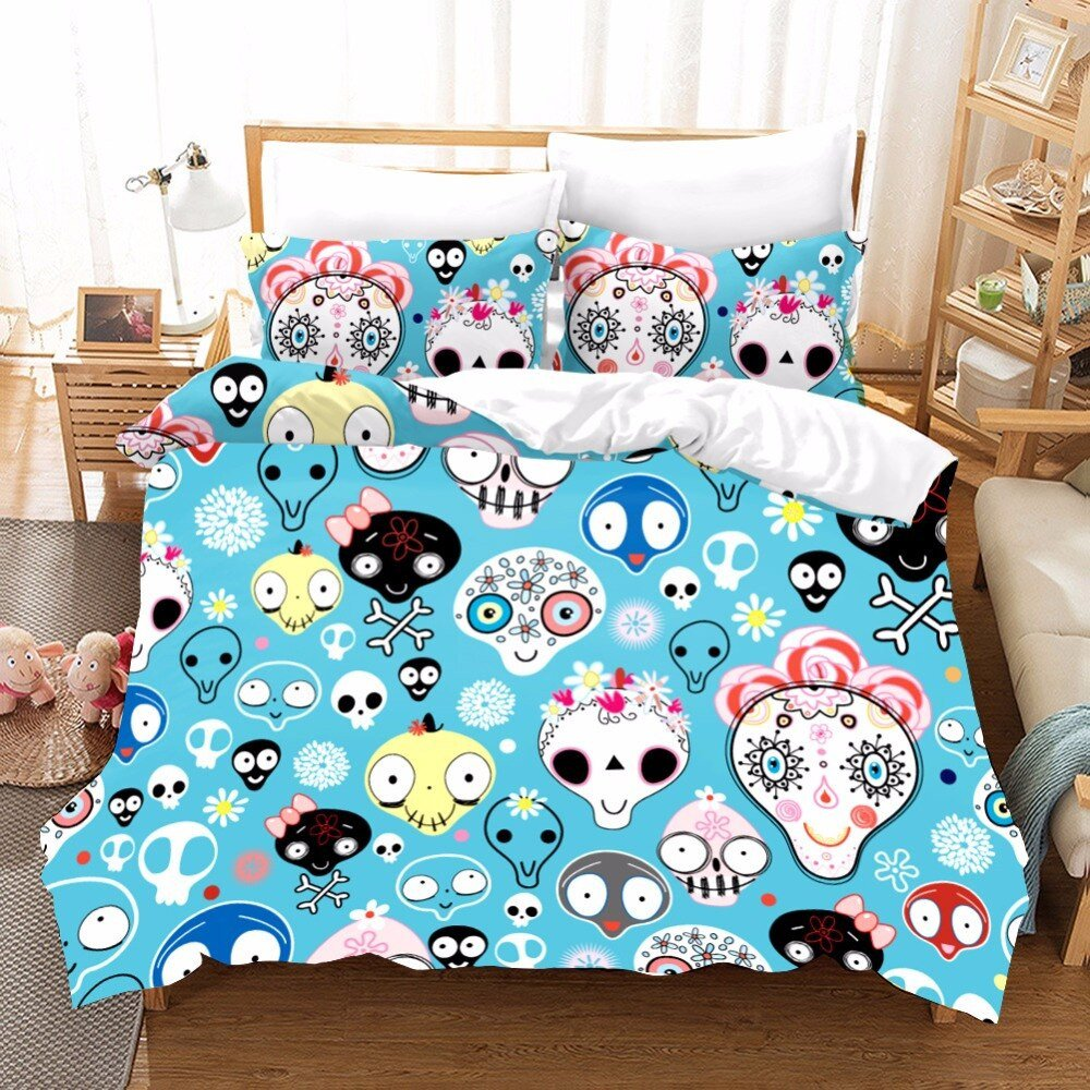 King Size Bedroom Comforter Set Lovely Us $32 32 Off Cartoon Sugar Skull Bedding Bedding Duvets and Linen Sets Bed Sheets Kawaii King Size Bedding Set Kids Duvet Cover Pillowcase F In