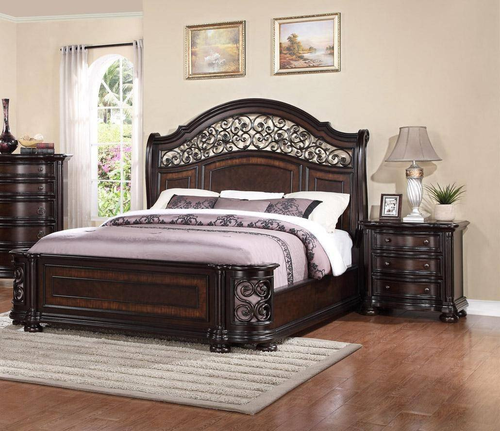 King Size Bedroom Set Cheap Luxury Mcferran B366 Allison Espresso Finish solid Hardwood