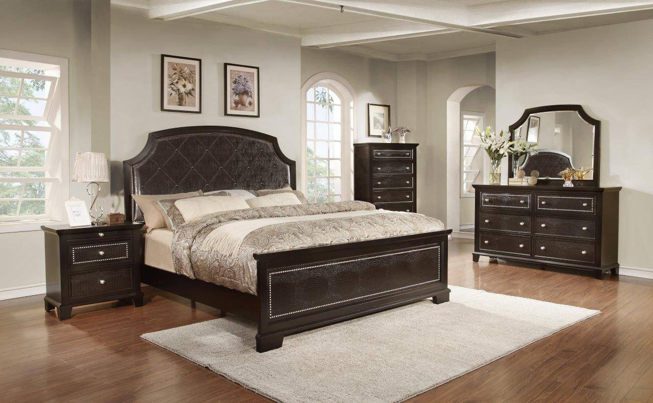 King Size Bedroom Set Cheap New soflex Moriah Dark Espresso Bicast Leather King Bedroom Set