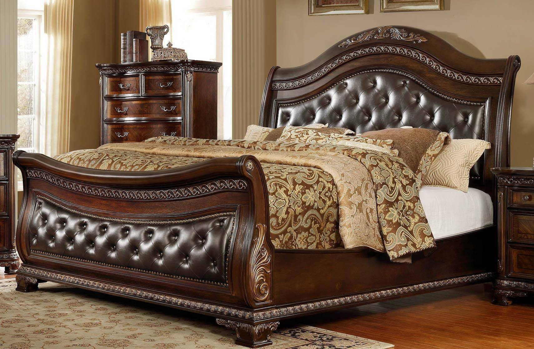 King Size Bedroom Set New Mcferran B9588 King Sleigh Bed In Oak Veneers Dark Cherry Finish Leather
