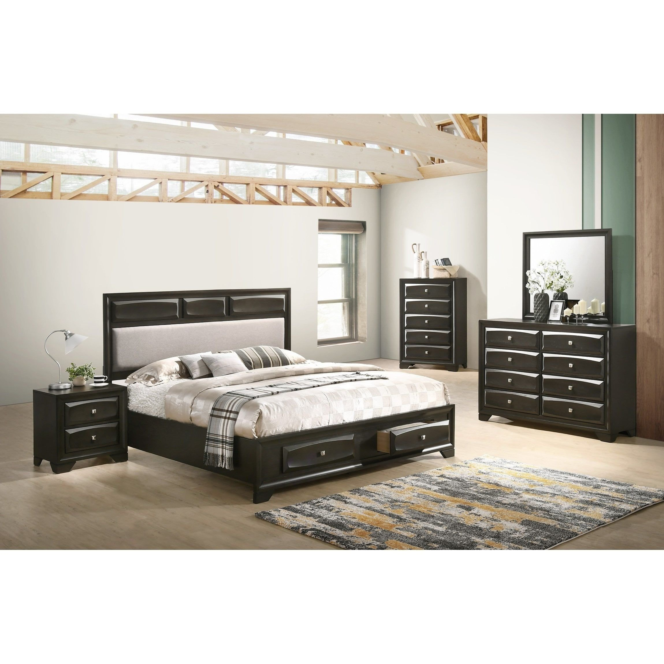 King Size Bedroom Set New Oakland Antique Gray Finish Wood 5 Pc King Size Bedroom Set