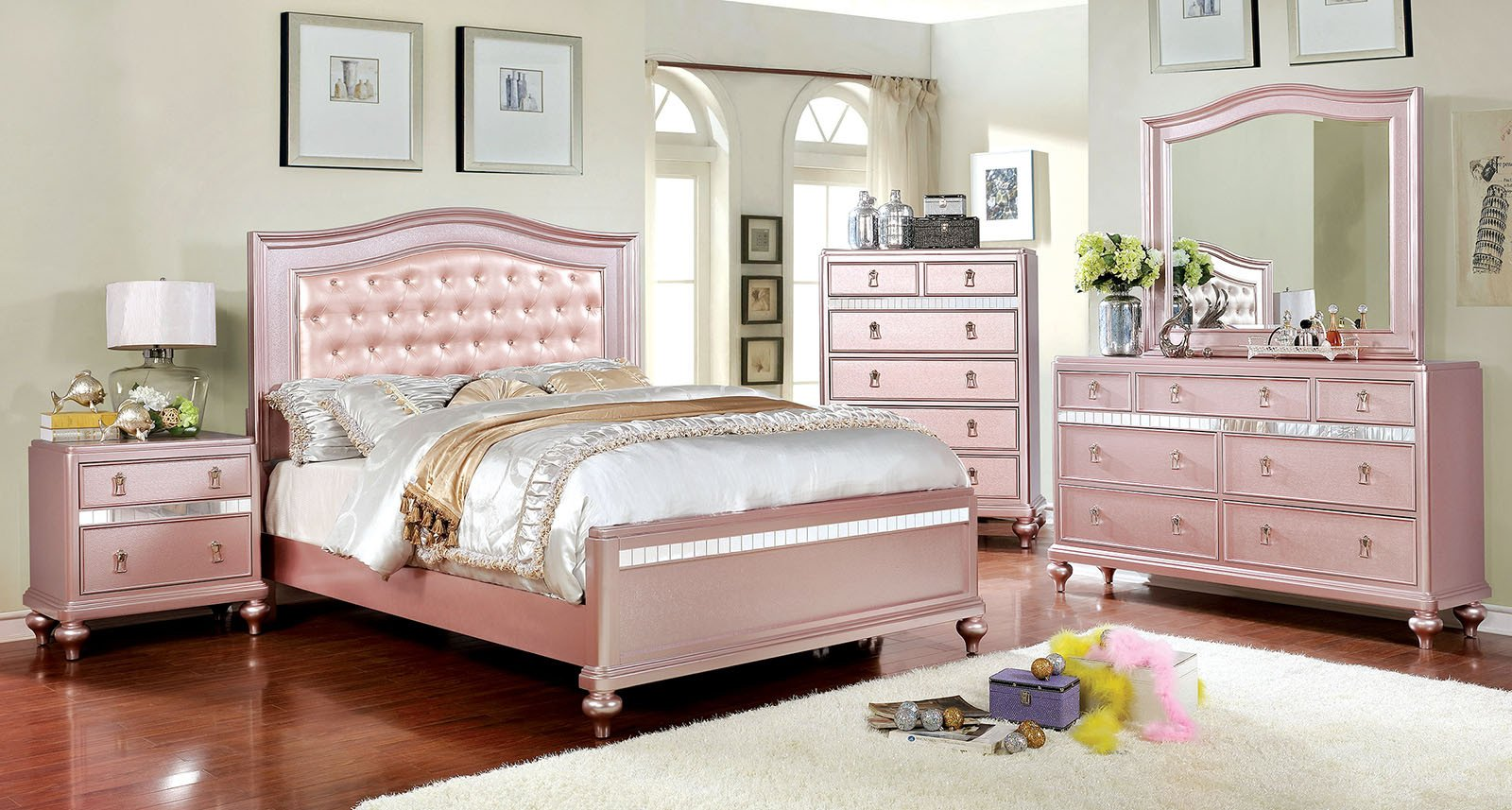 King Size Bedroom Set with Mattress Luxury Ariston Rose Gold Finish Cal King Size Bed with Mirrored Trim Jeweled button Tufted Padded Leather Headboard