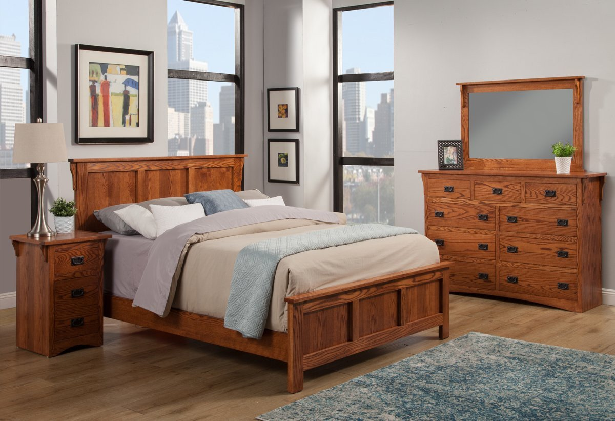 King Size Bedroom Set with Mattress Luxury Mission Oak Panel Bed Bedroom Suite Cal King Size