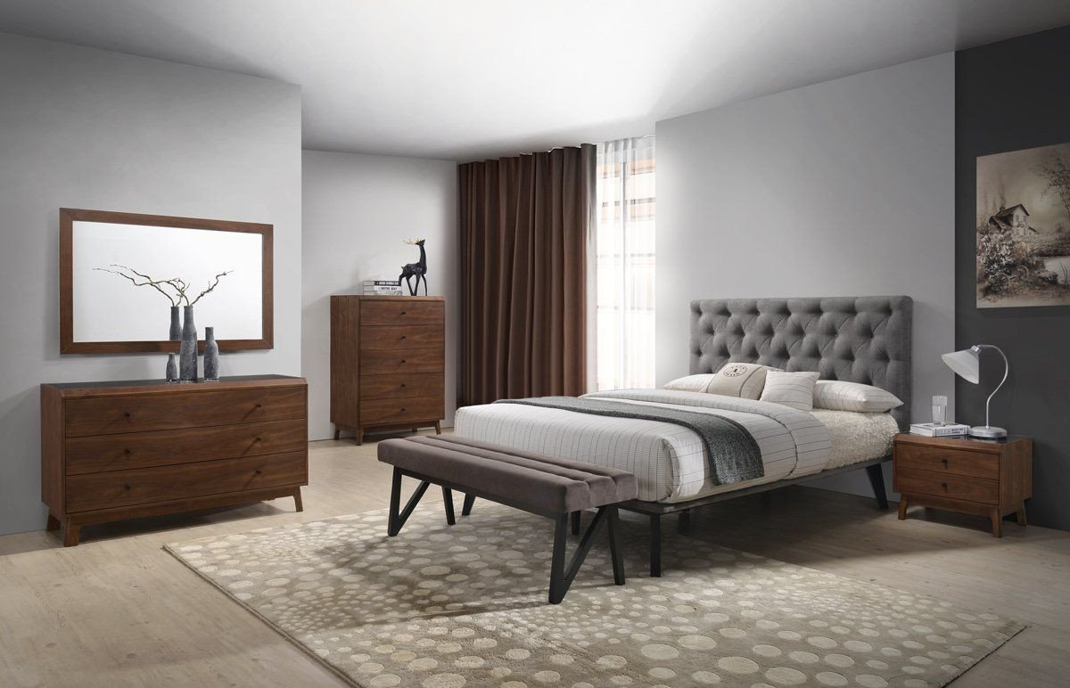 King Size Bedroom Suit Inspirational Modrest Gibson Modern Grey & Walnut Bedroom Set