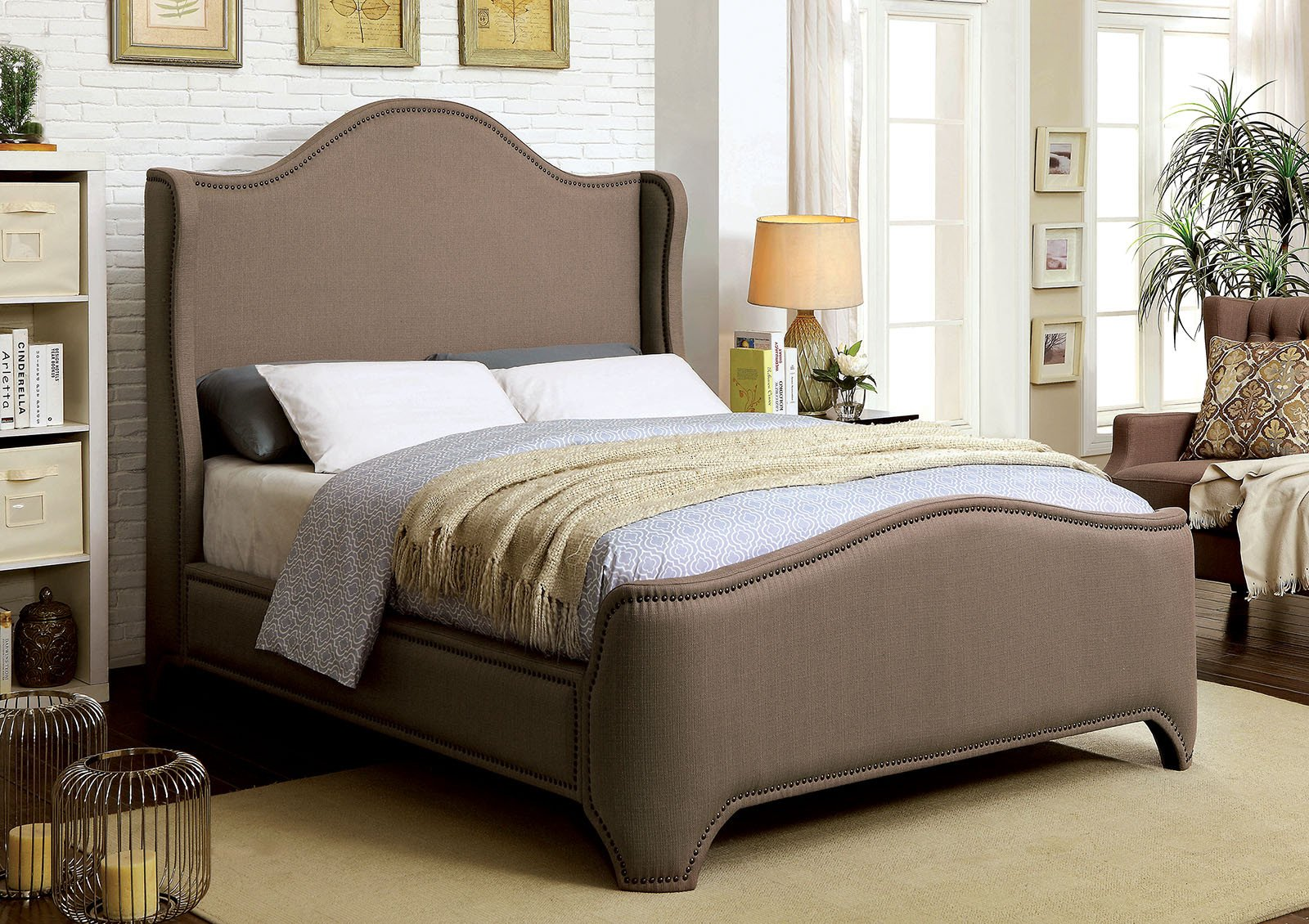 King Size Bedroom Suites Beautiful Bedroom Bed Contemporary Eastern King Size Bed Brown Padded Fabric Plush fort Relax Wingback Design