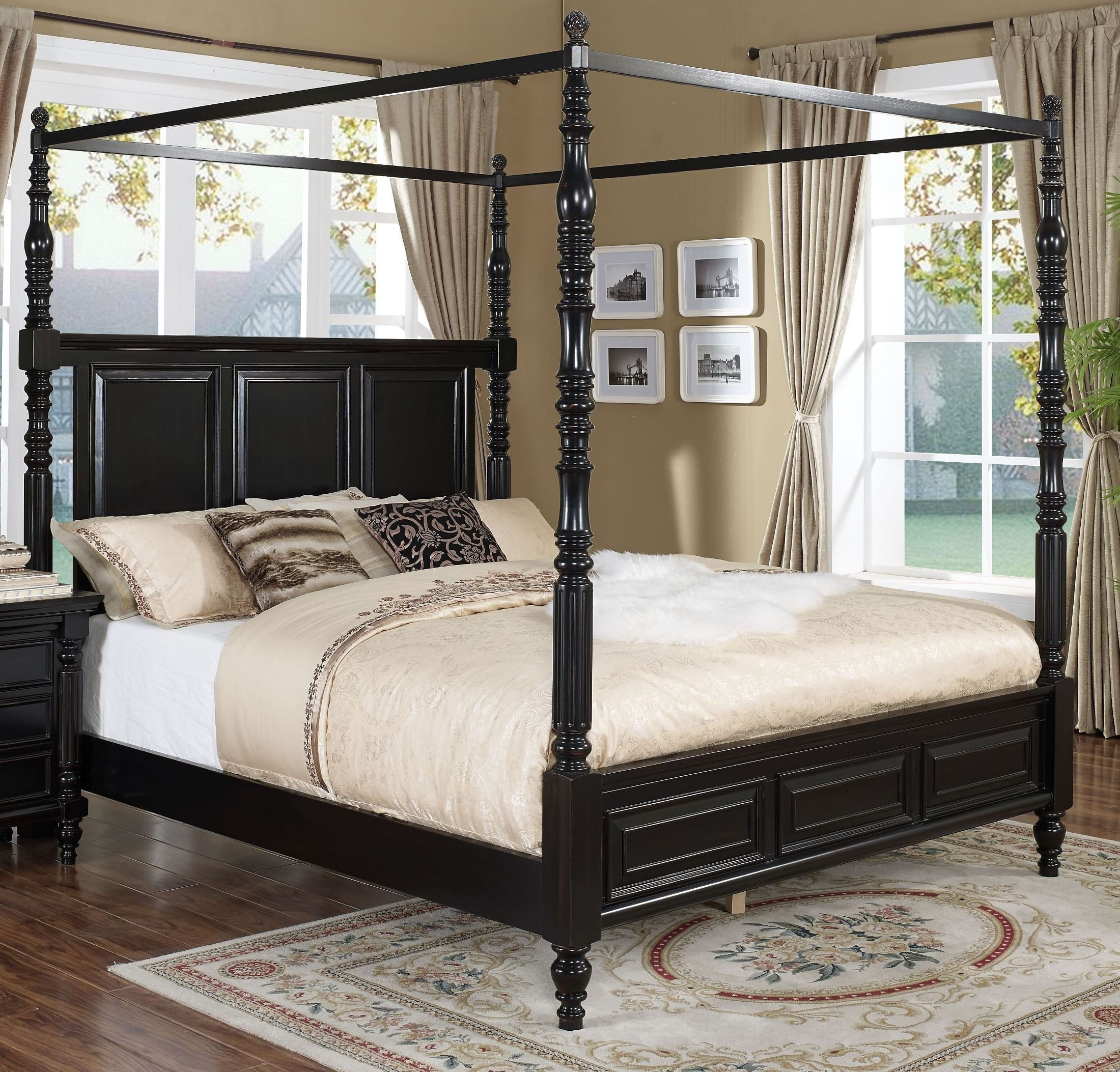King Size Canopy Bedroom Set Lovely Martinique Rubbed Black King Poster Canopy Bed with Drapes