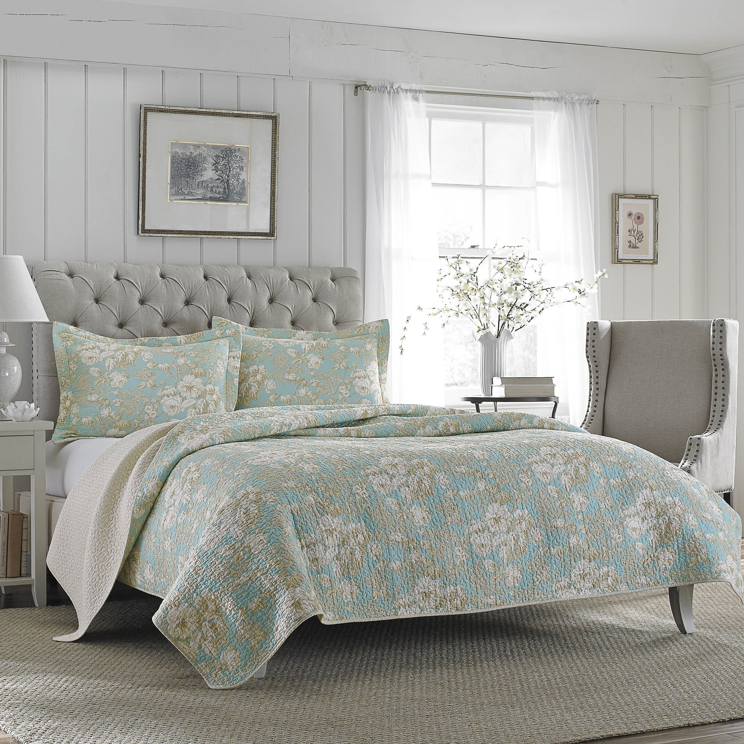 Laura ashley Bedroom Set Beautiful Laura ashley Brompton Serene Reversible Cotton Quilt Set