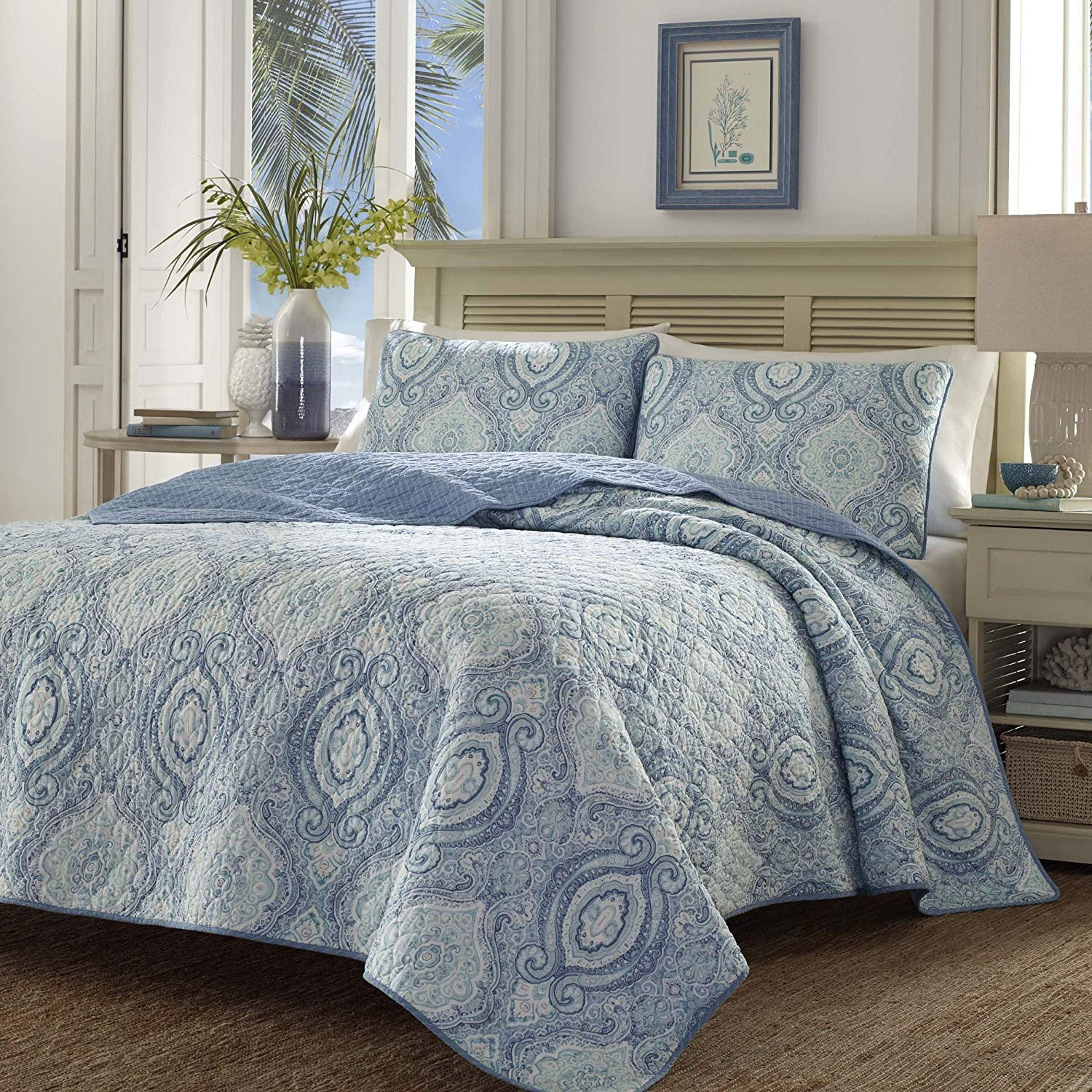 Laura ashley Bedroom Set Beautiful tommy Bahama Turtle Cove Caribbean Quilt Set Harbor Blue Twin
