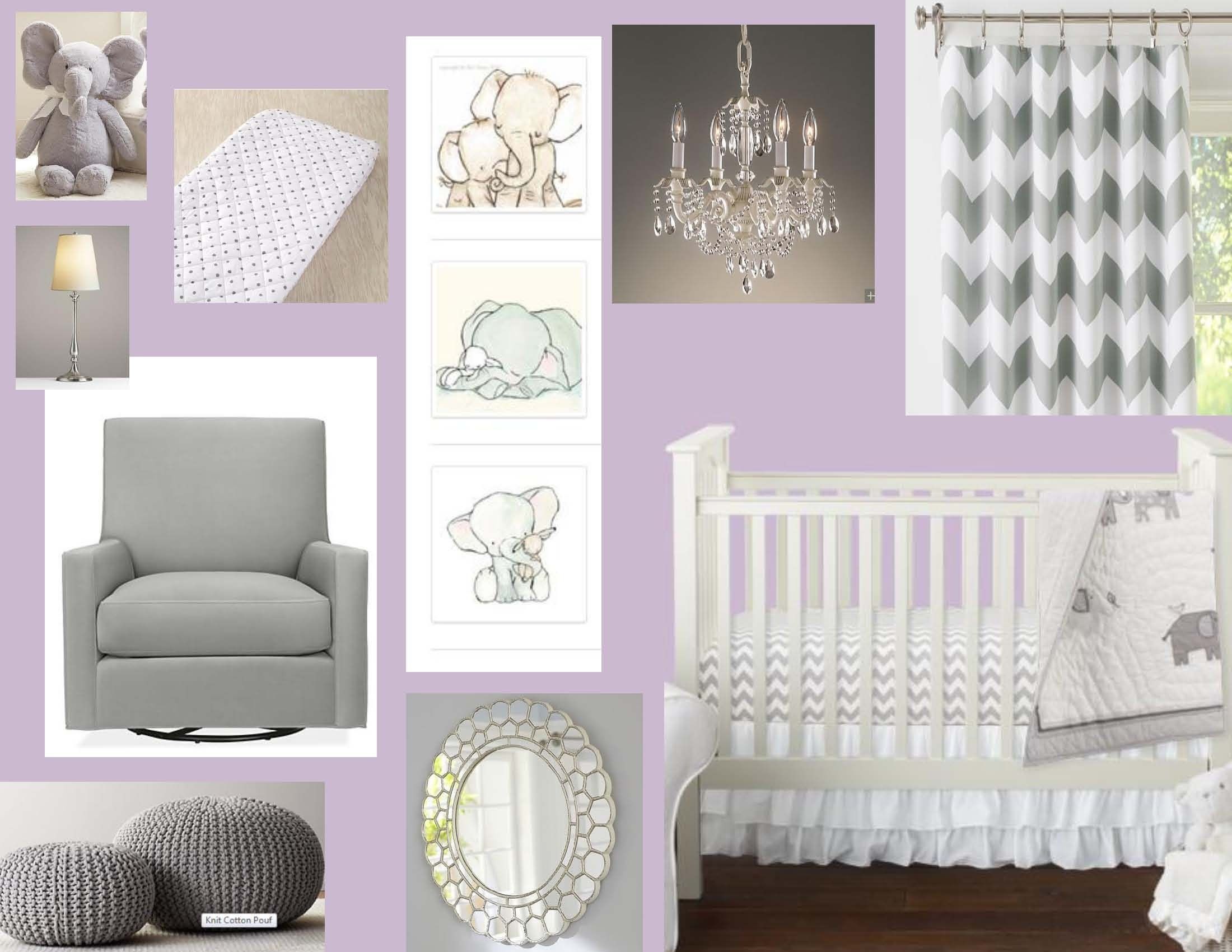 Lavender and Gray Bedroom Awesome Purple and Grey Elephant Nursery Design Board