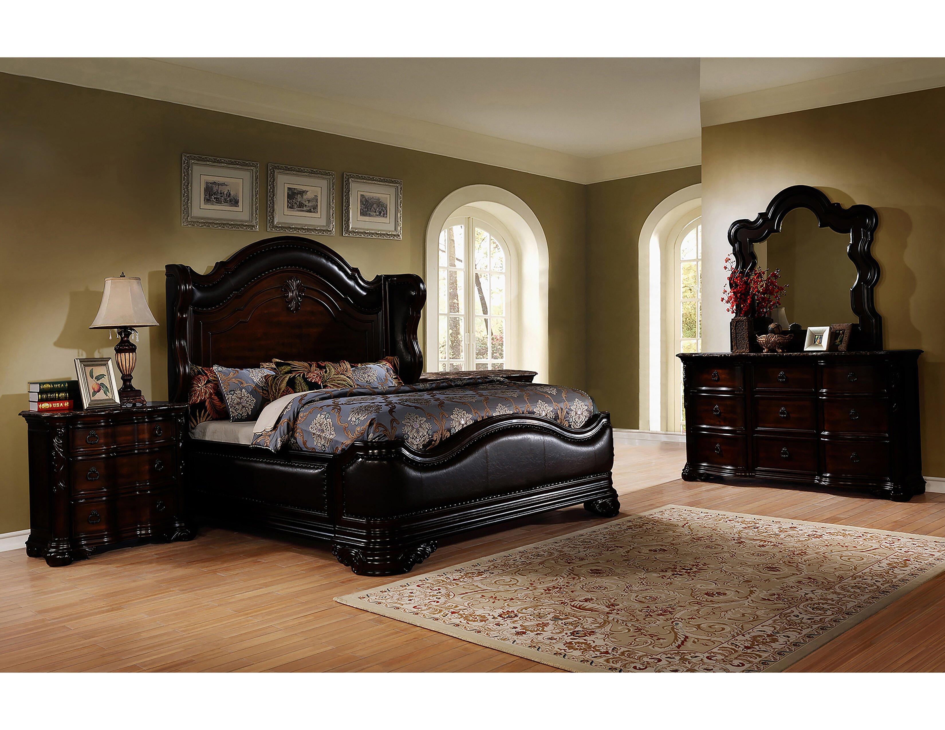 Leather Headboard Bedroom Set Elegant Ayan Standard 5 Piece Bedroom Set
