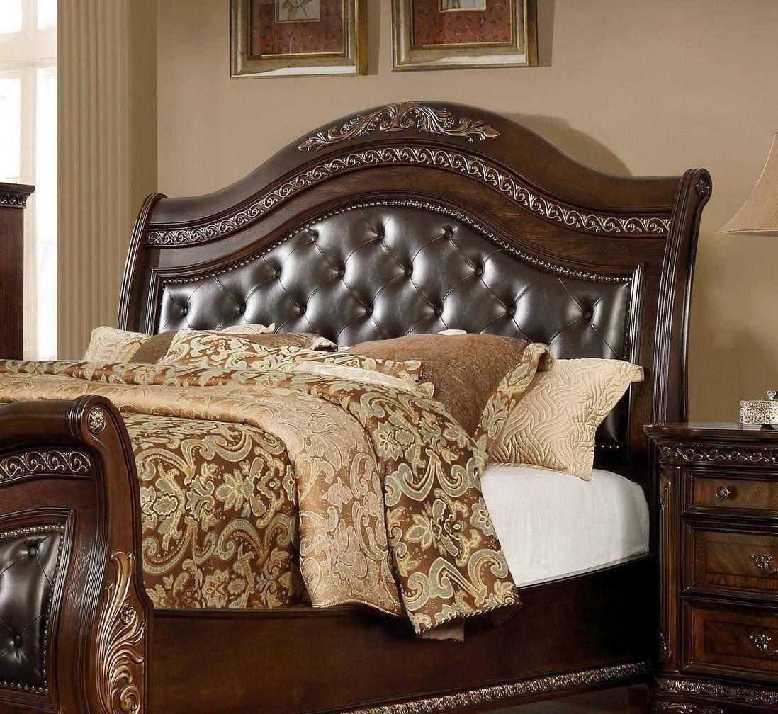 Leather Headboard Bedroom Set Elegant Mcferran B9588 King Sleigh Bed In Oak Veneers Dark Cherry Finish Leather