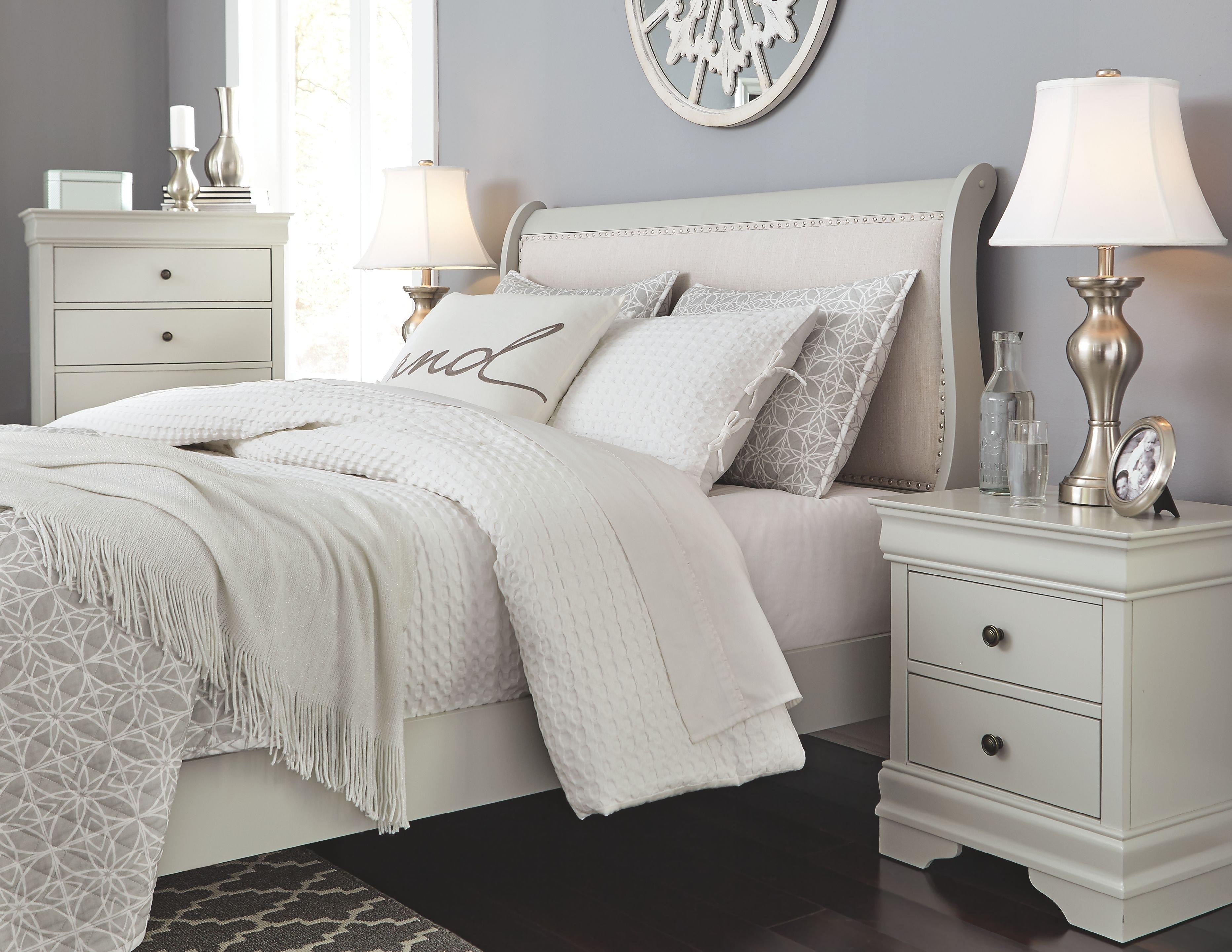 Leather Headboard Bedroom Set Luxury Jorstad Full Bed with 2 Nightstands Gray
