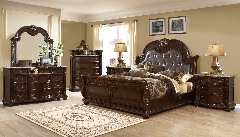 Leather Headboard Bedroom Set Unique Mcferran B9500 Q Amber Dark Cherry Finish Luxury Tufted