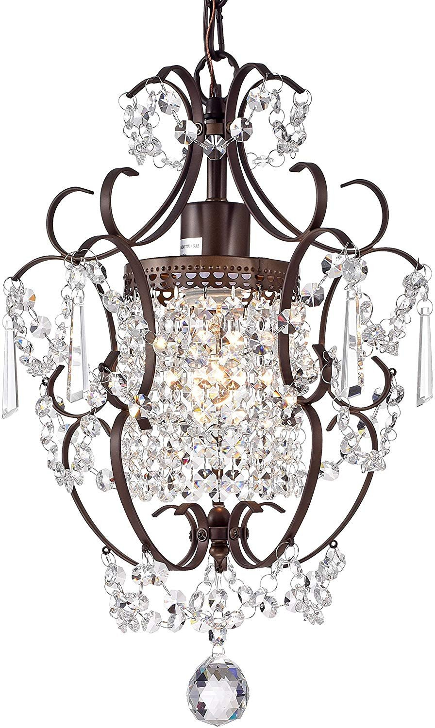 Light Fixtures for Girl Bedroom Unique Crystal Chandelier Lighting Bronze Chandeliers 1 Light Iron Ceiling Light Fixture