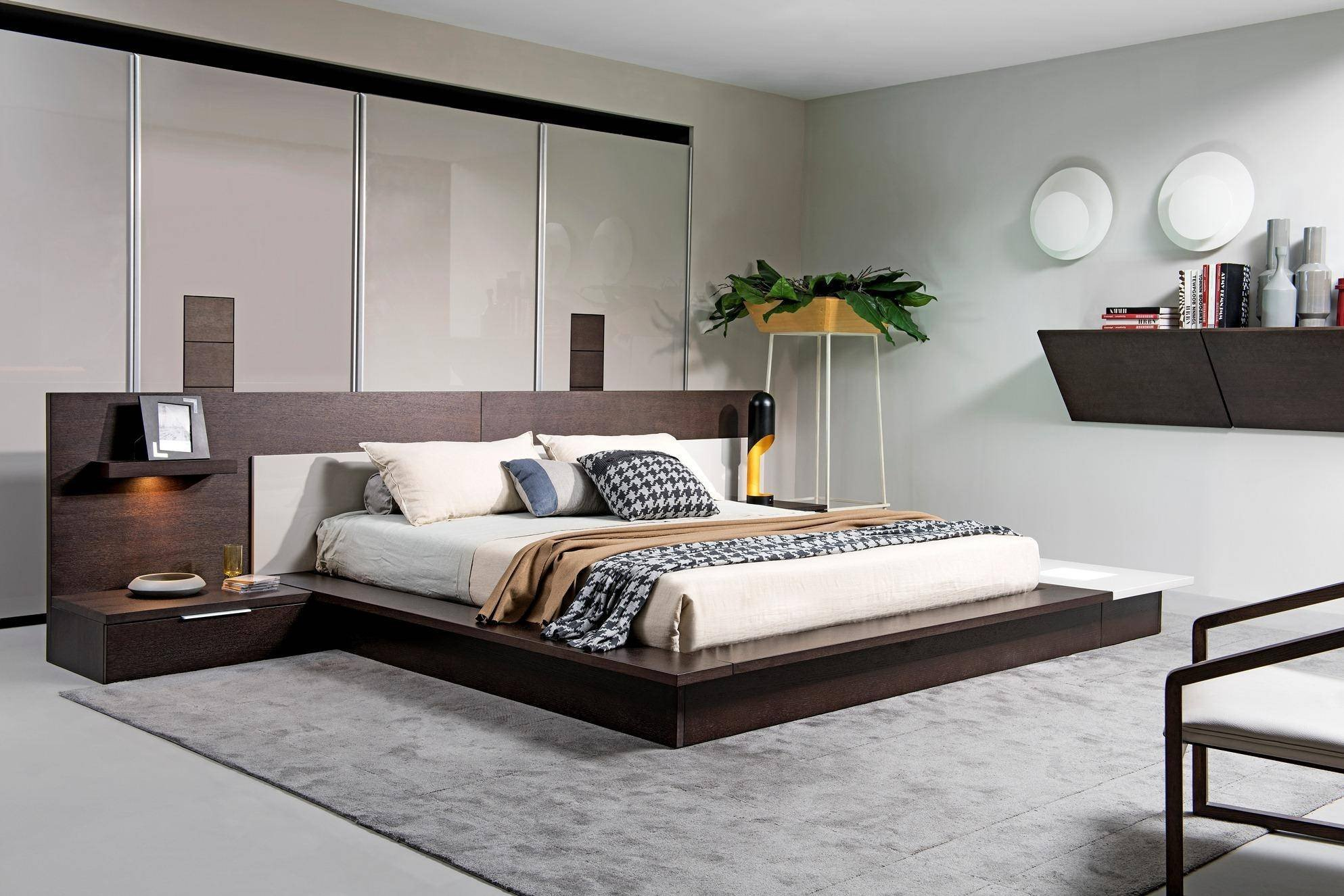 Light Wood Bedroom Furniture Unique Vig Modrest torino Brown Oak Grey Queen Bed W Lights Built