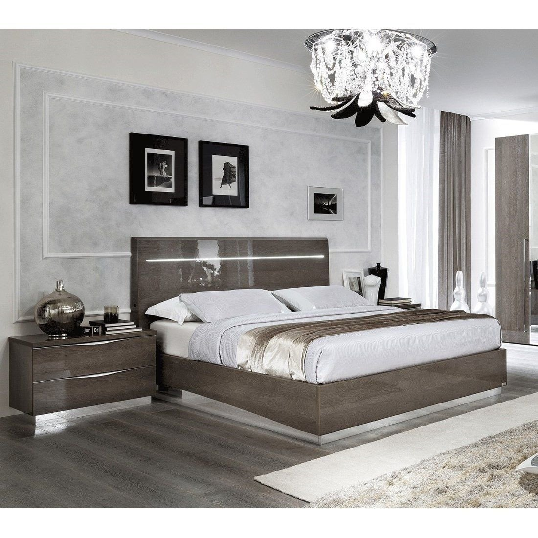 Lighted Headboard Bedroom Set Awesome Luca Home Led Silver Birch Queen Bed Brown