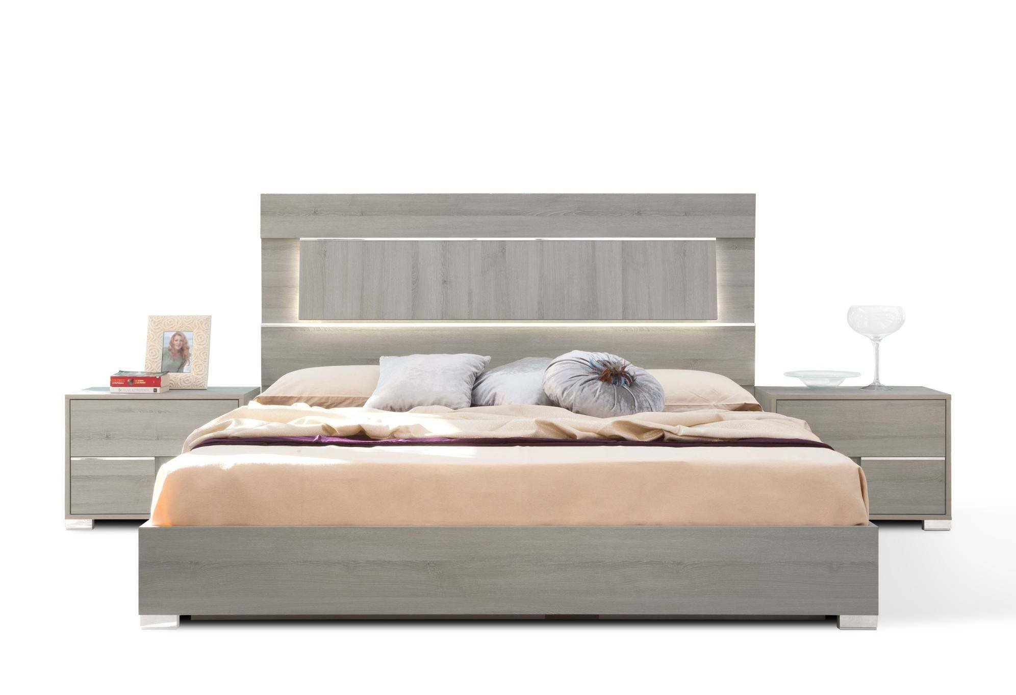 Lighted Headboard Bedroom Set Awesome Vig Modrest Ethan Modern Grey Veneer Finish Led Lighted