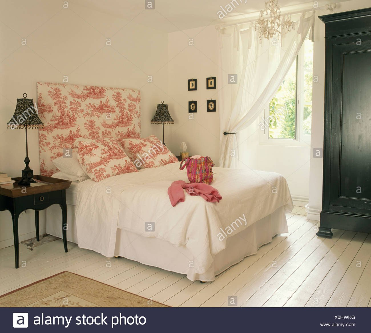Lighted Headboard Bedroom Set Best Of Pink toile De Jouy Headboard and Pillows On Bed with White