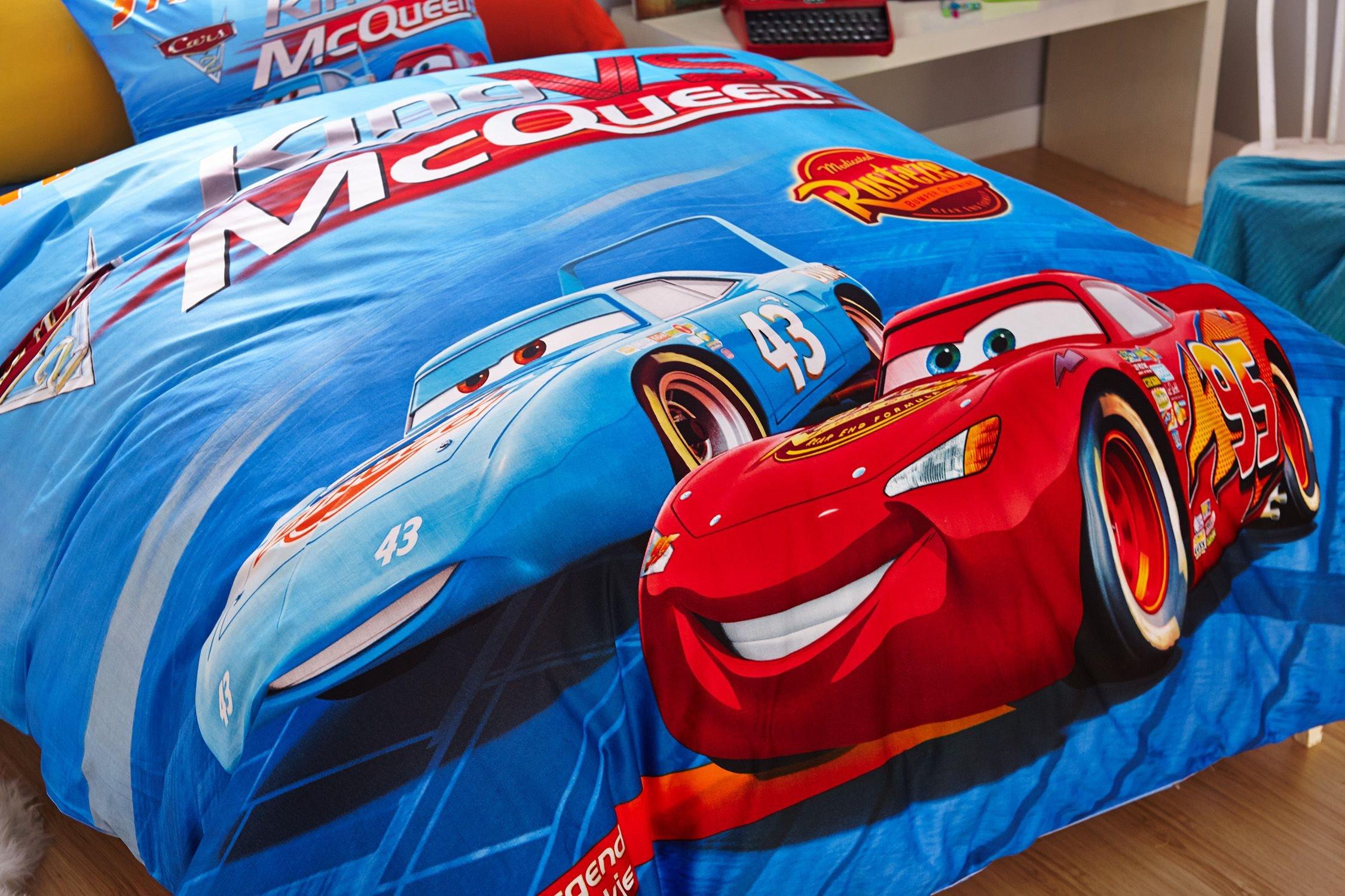 Lightning Mcqueen Bedroom Set New Blue Color Disney Cars Bedding Set