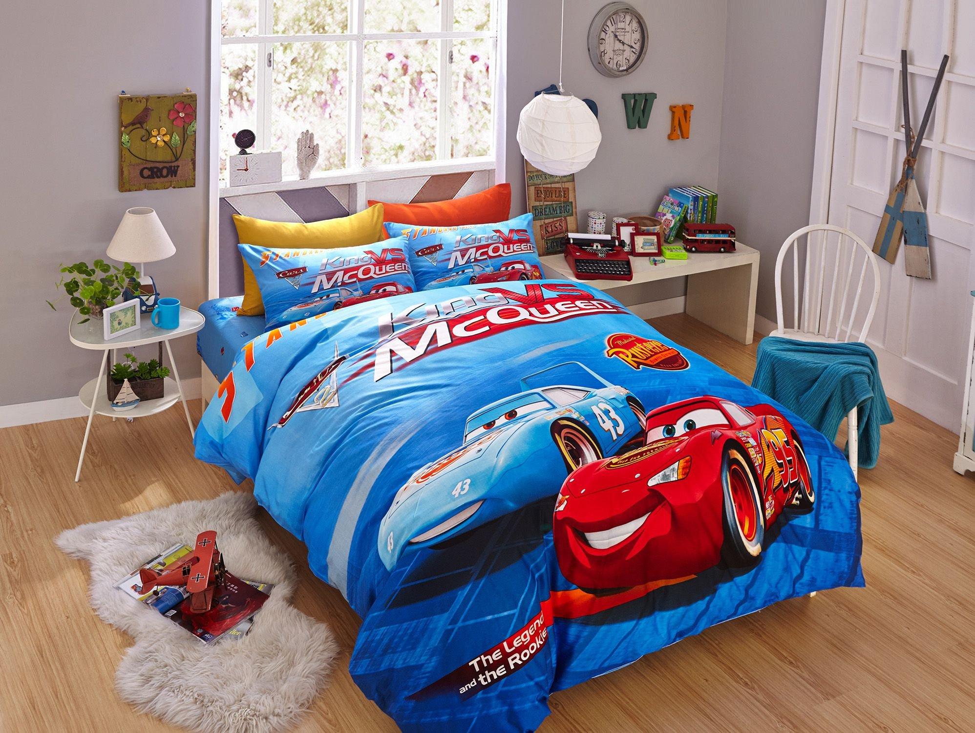 Lightning Mcqueen Bedroom Set Unique Blue Color Disney Cars Bedding Set