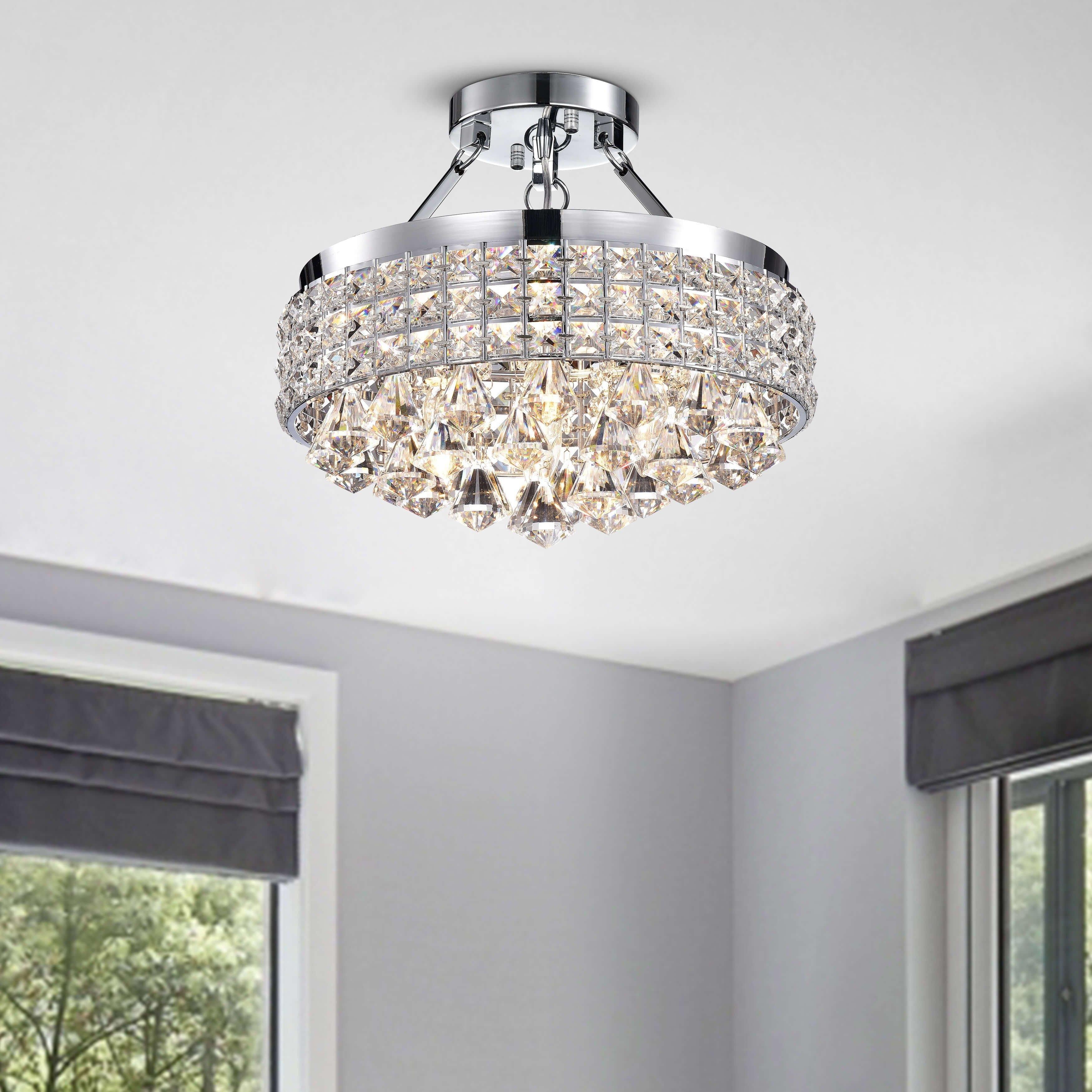 Little Girl Chandelier Bedroom Fresh Antonia 4 Light Crystal Semi Flush Mount Chandelier with Chrome Iron Shade