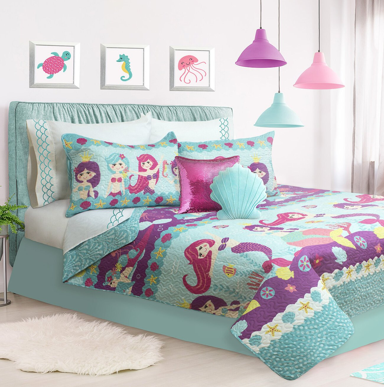 Little Mermaid Bedroom Set Awesome Hollen Coralia Coverlet Set