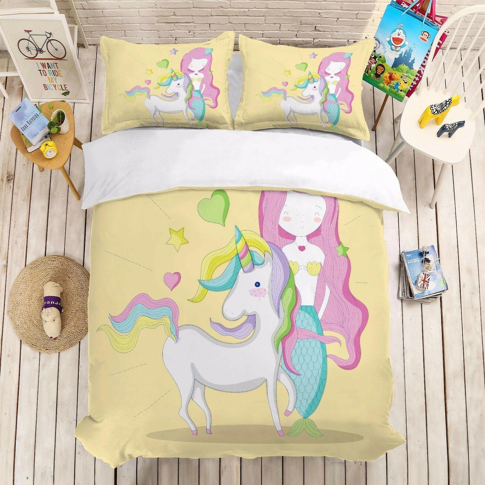 Little Mermaid Bedroom Set Elegant Cartoon Mermaid Unicorn Girl Bedding Set Duvet Cover