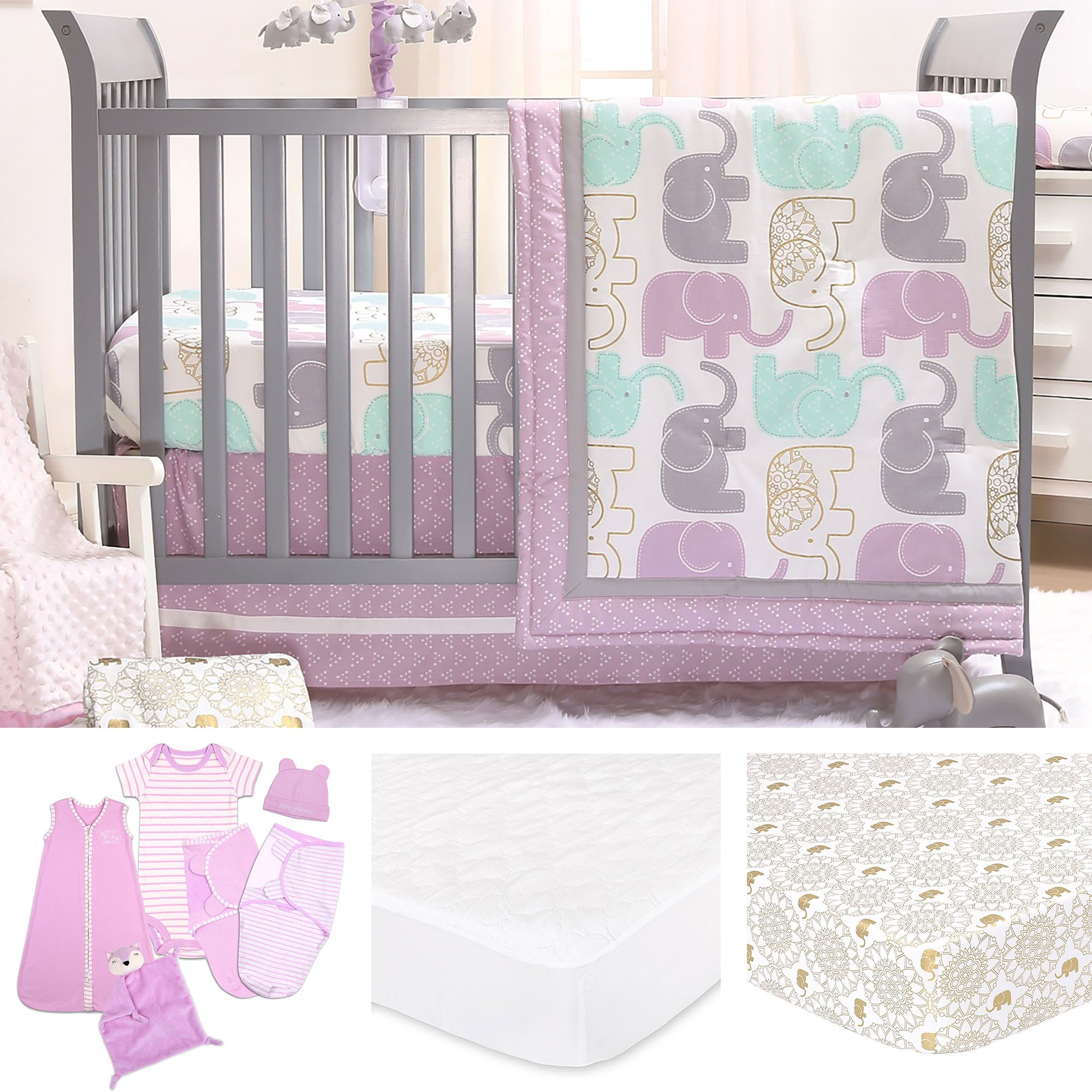 Little Mermaid Bedroom Set Unique Little Peanut Lilac Gold Elephant Baby Girl Crib Bedding