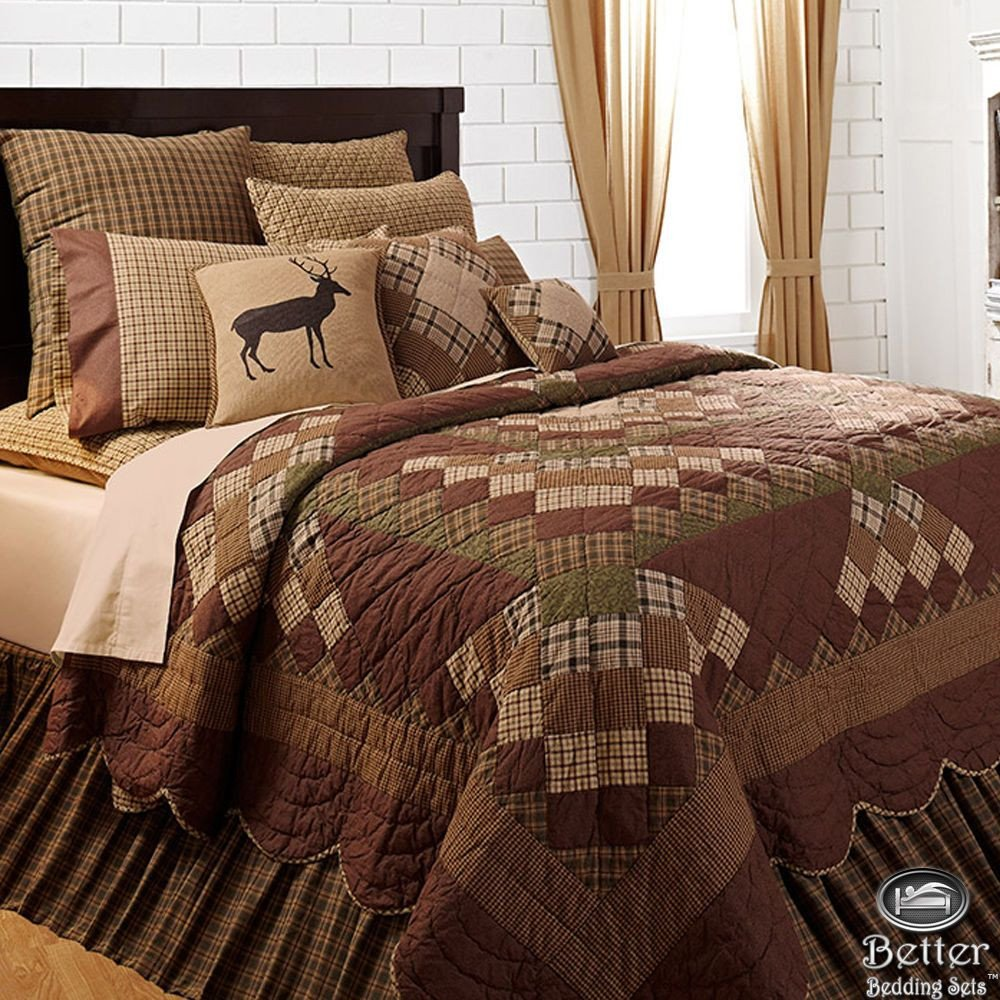 Log King Size Bedroom Set Inspirational Brown Green Rustic Lodge Log Cabin Country Home Patchwork