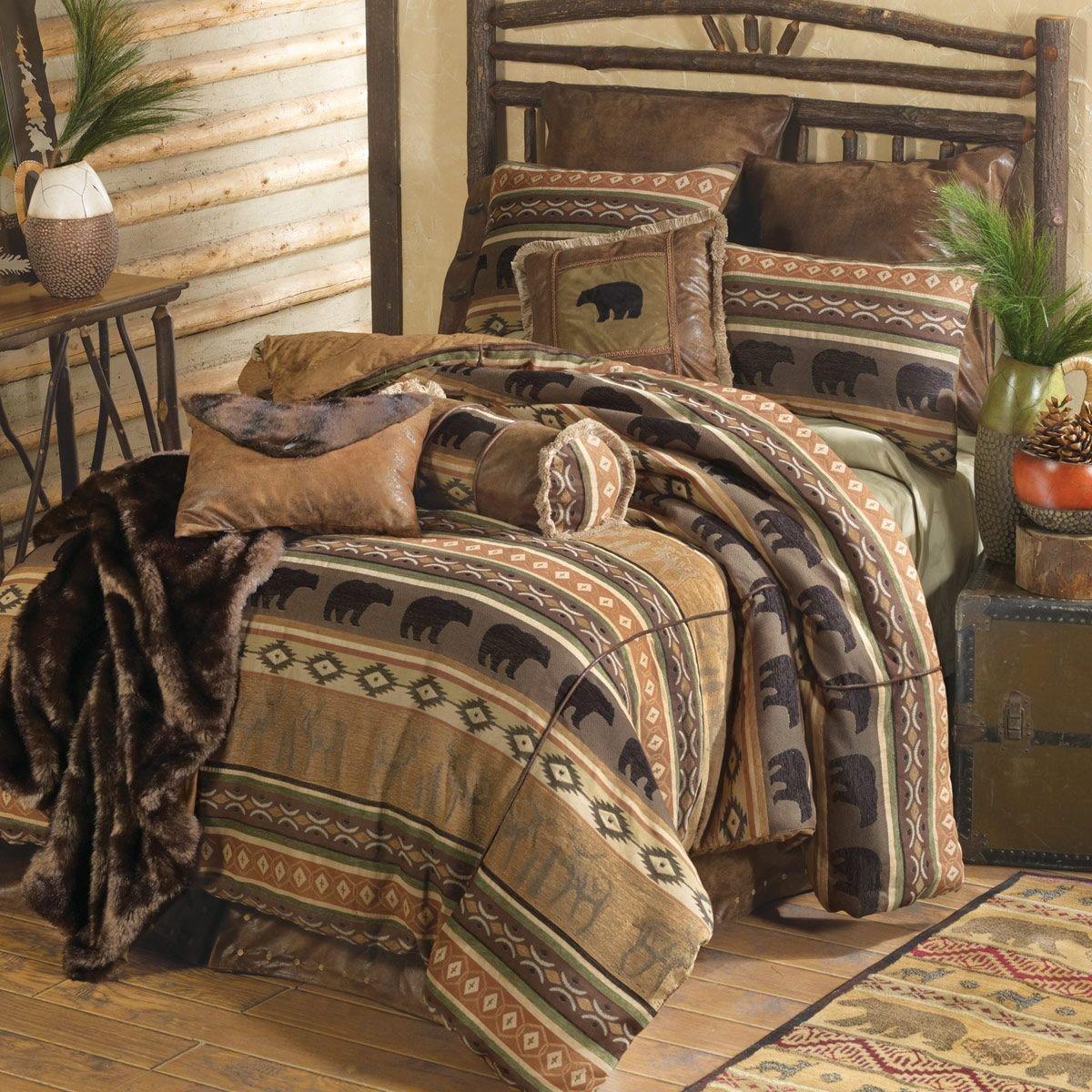 Log King Size Bedroom Set Unique Saranac Lodge Bear & Moose Bed Set