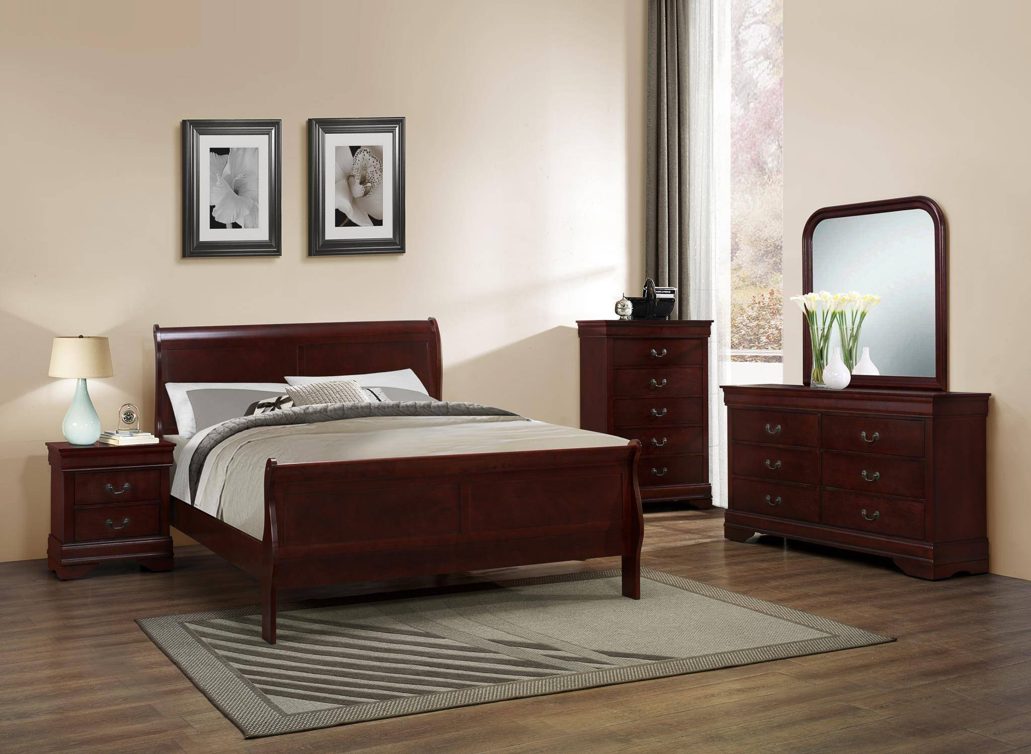 Louis Philippe Bedroom Set Elegant Myco Furniture Lp102k Louis Philippe Cherry Finish solid Hardwoods King Bed Set 5pcs Classic