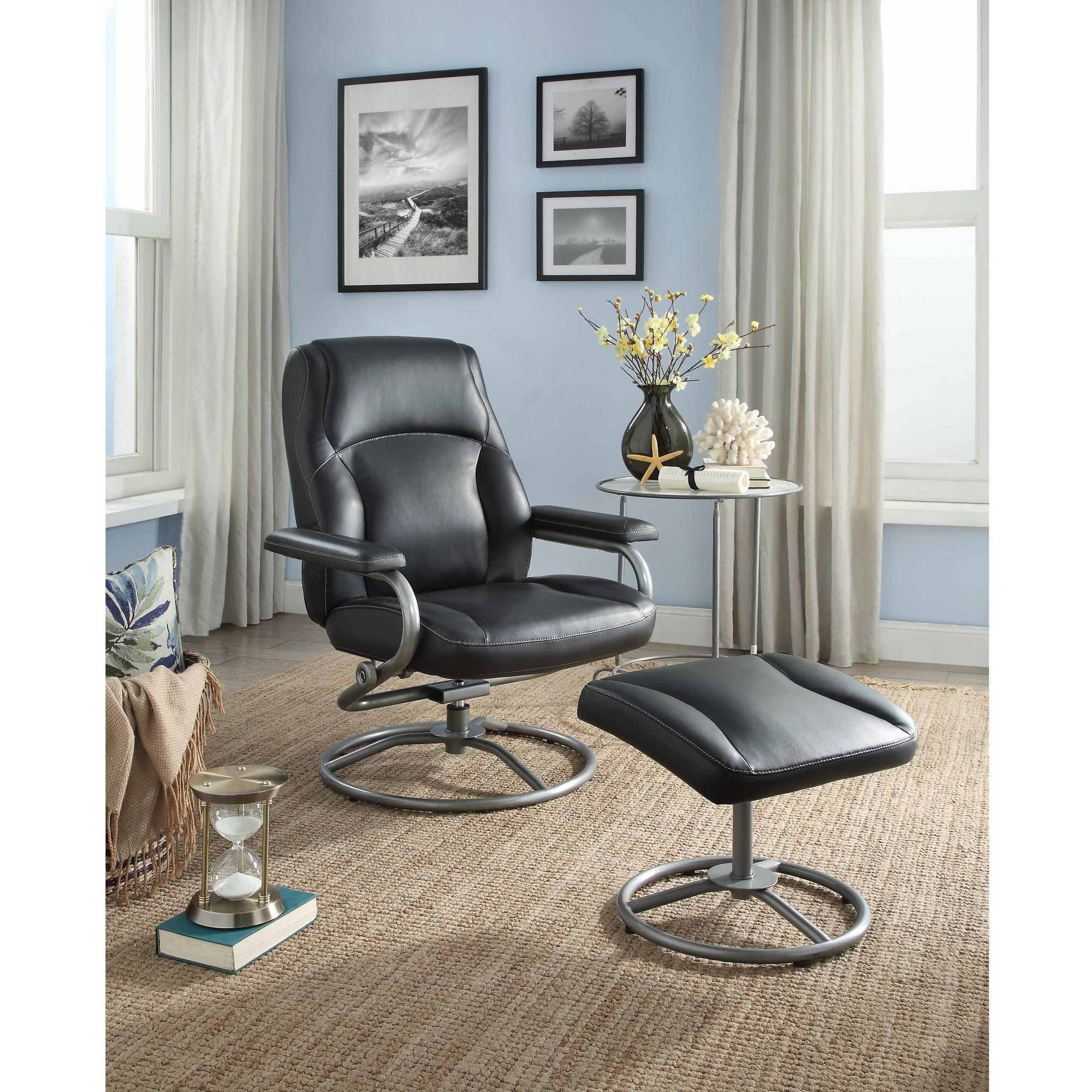 Lounge Chair for Teen Bedroom Unique Mainstays Plush Pillowed Recliner Swivel Chair and Ottoman Set Multiple Available Colors Walmart