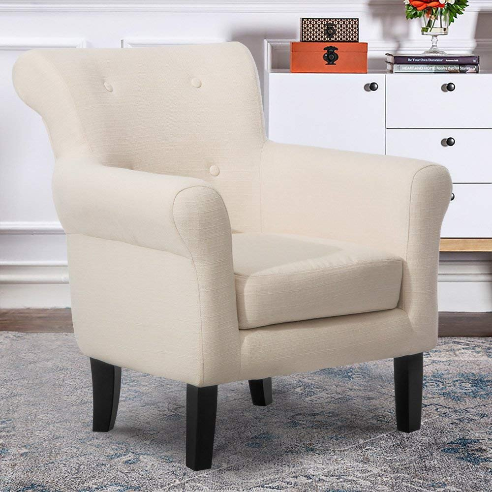 Lounge Chairs for Teen Bedroom Lovely Harper&bright Designs Contemporary Accent Chair Fabric Upholstered Club Armchair with solid Wood Leg Beige