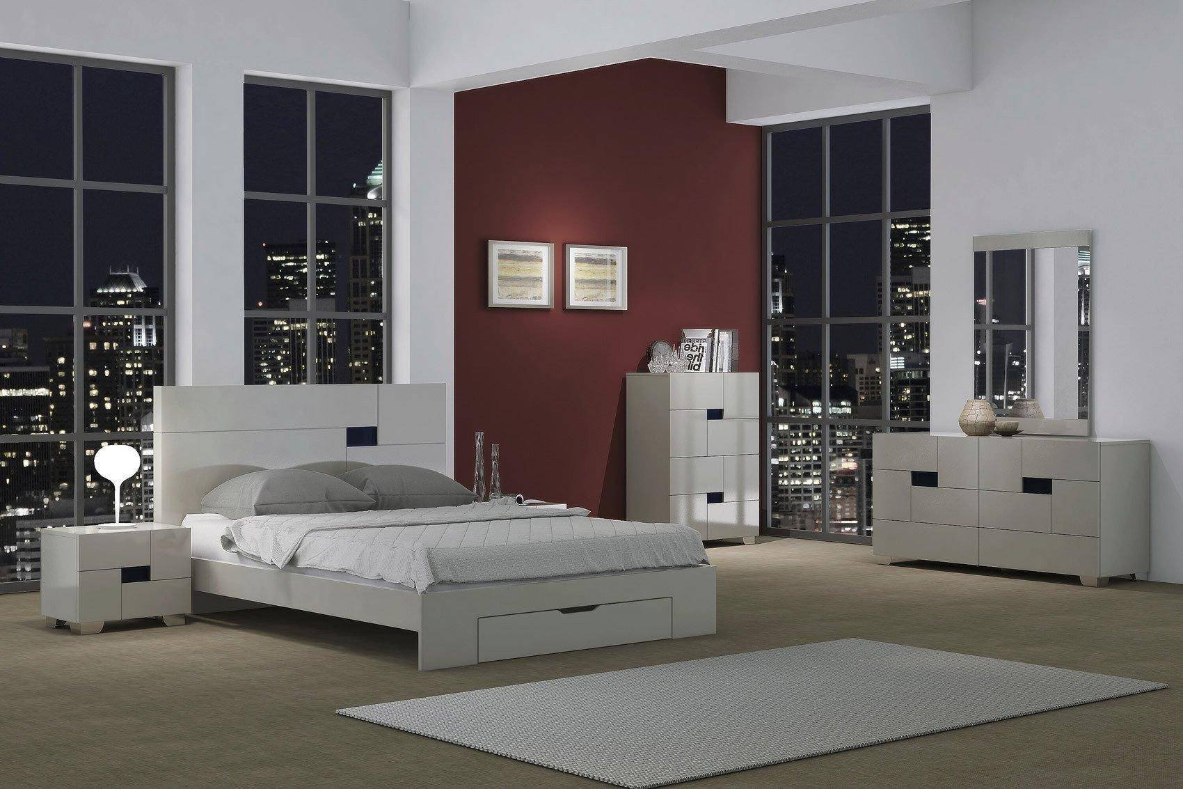 Low Price Bedroom Set Unique Contemporary Light Gray Lacquer Storage Queen Bedroom Set