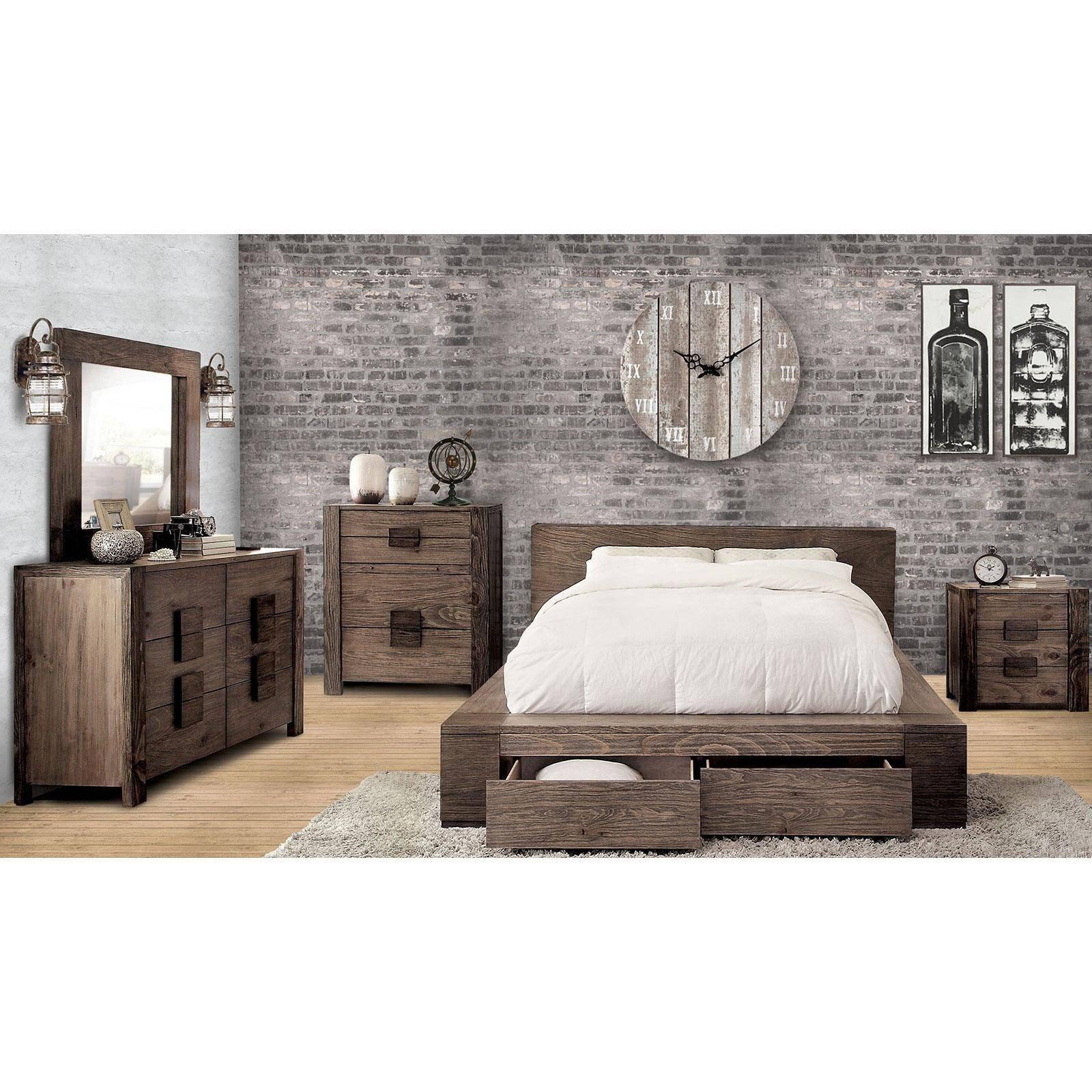 Low Profile Bedroom Set Fresh Rustic Natural Finish Queen Storage Bedroom Set 4 Pcs