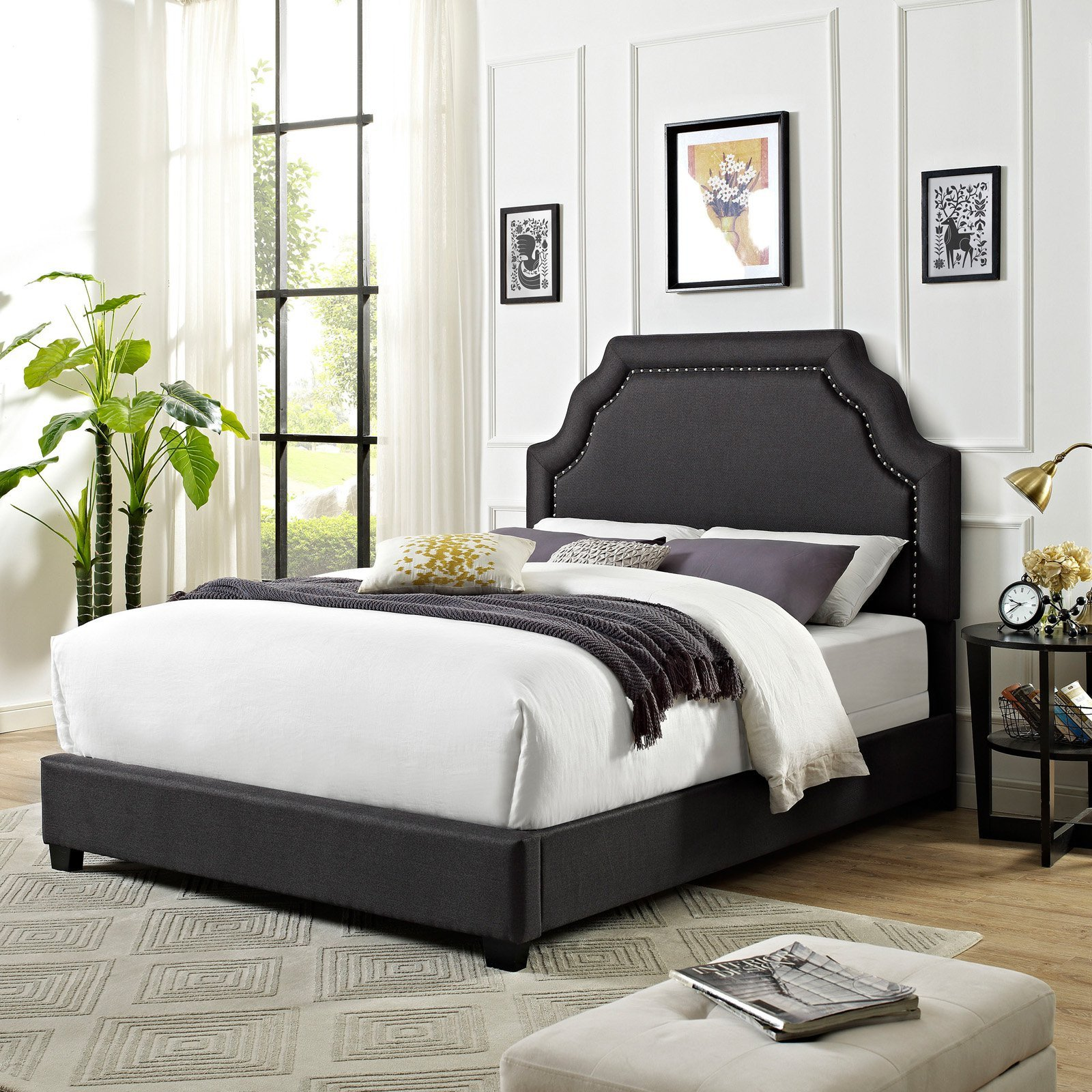 Low Profile Bedroom Set New Crosley Loren Keystone Upholstered Low Profile Bed Charcoal