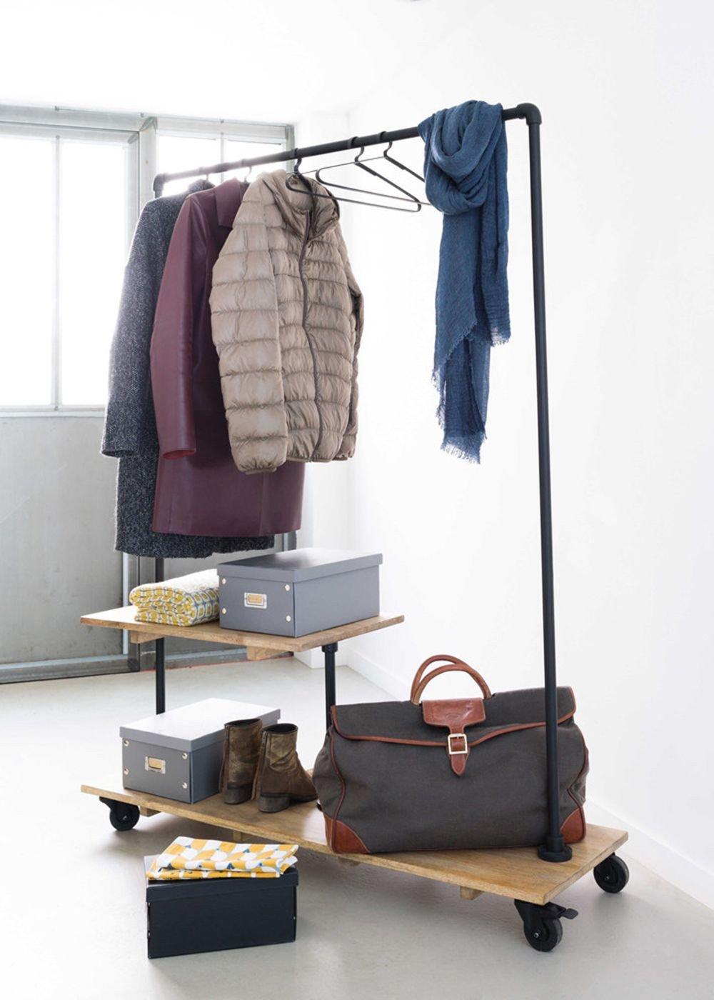 Luggage Rack for Bedroom Best Of Black Metal and Mango Wood Hanging Rail