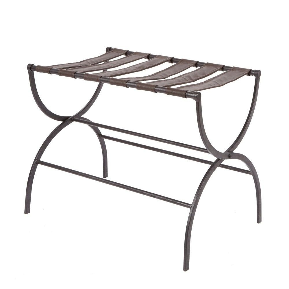 Luggage Rack for Bedroom Elegant Julian Metal Luggage Rack with Contour Legs Black