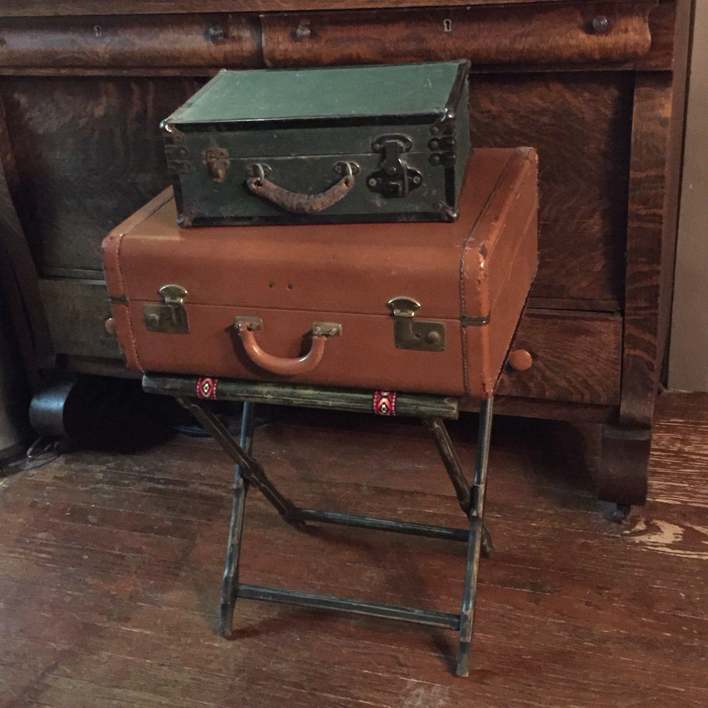 Luggage Rack for Bedroom Elegant Vintage Folding Wooden Luggage Stand Straight Leg Luggage