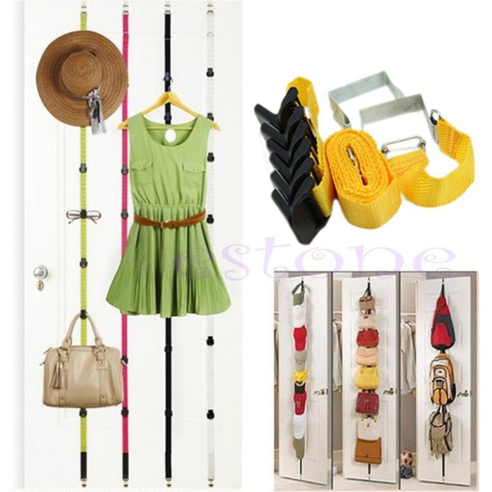 Luggage Rack for Bedroom Elegant wholesale 8 Hooks Over Door Straps Hanger Adjustable Hat Bag Clothes Coat Rack organizer