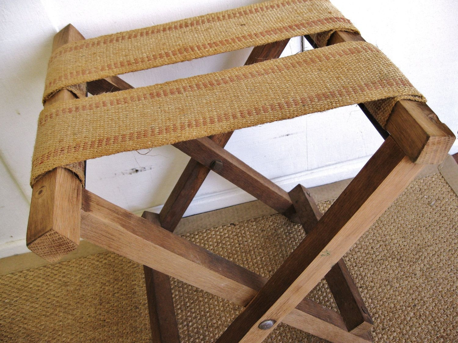 Luggage Rack for Bedroom Lovely Rustic and Natural Vintage Burlap Jute Webbing Fold Up
