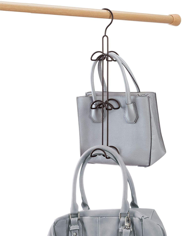 Luggage Rack for Bedroom Unique Idesign Classico Hanging Closet organizer for Purses Handbags Satchels Backpacks Scarves Pashminas Slings Closet Accessories 6 Hooks Bronze