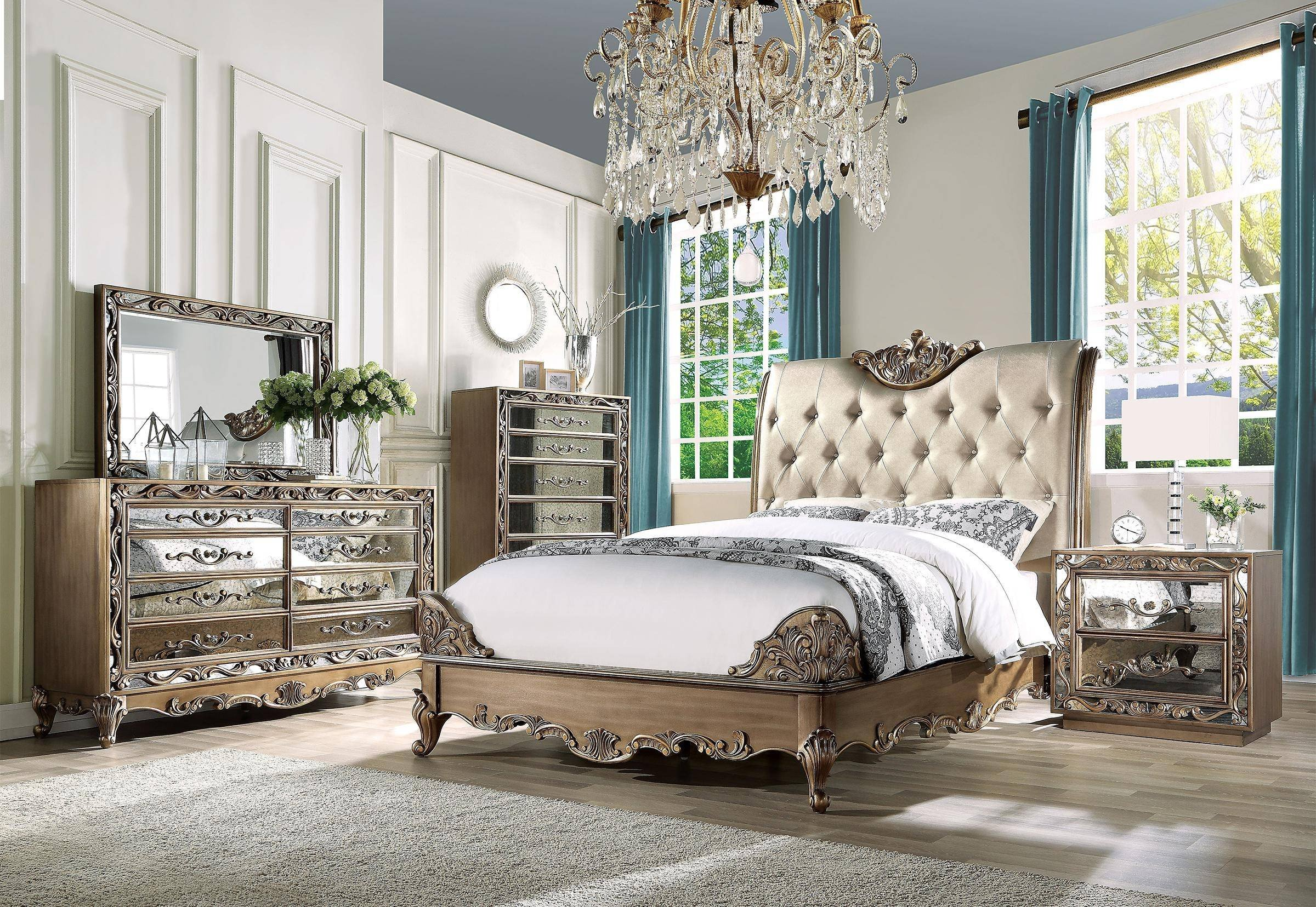Luxury Master Bedroom Furniture Elegant Luxury King Bedroom Set 3 Antique Gold Champagne F Leather